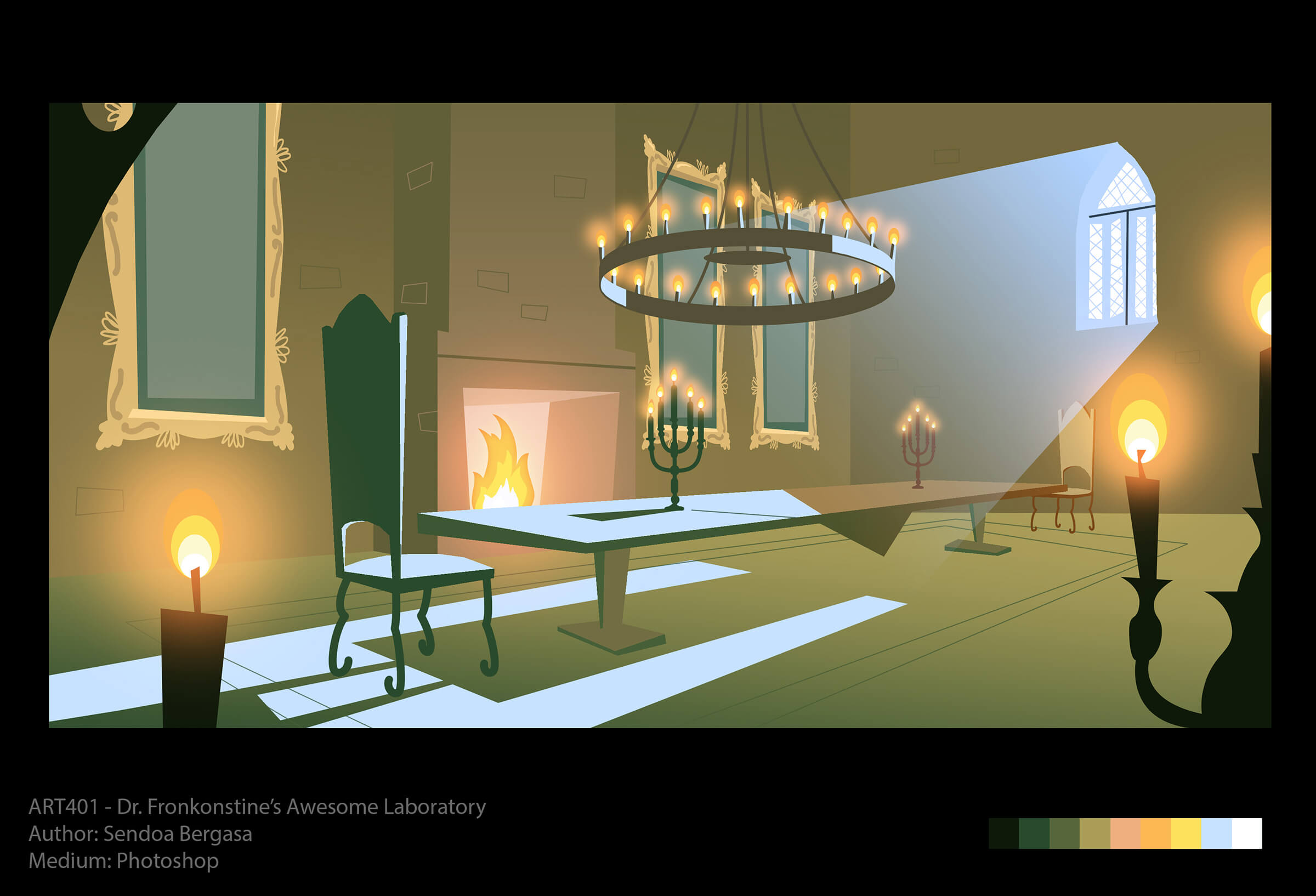 Concept art of a long dining table with high-backed chairs next to a fireplace. A candlelit chandelier glows overhead.