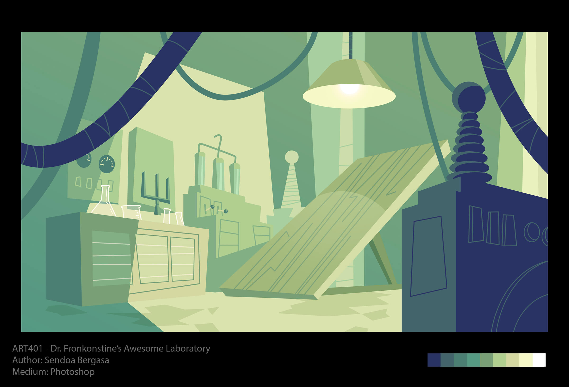 Stylized depiction of a mad scientist's laboratory in shades of green and blue, with switches, beakers, and operating table.