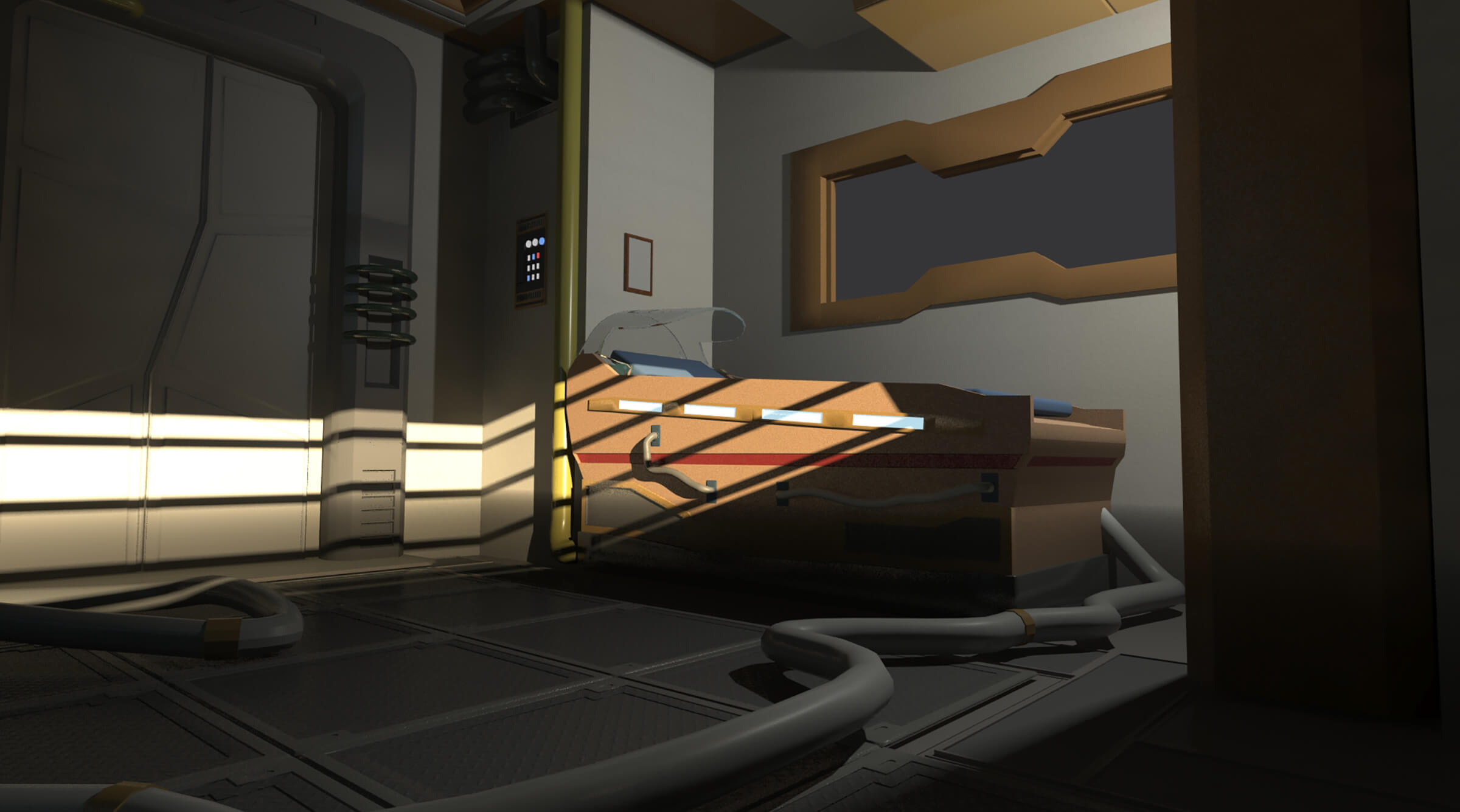 A dimly lit room decorated in a pristine, futuristic style with an elaborate sleeping apparatus seen to one side.