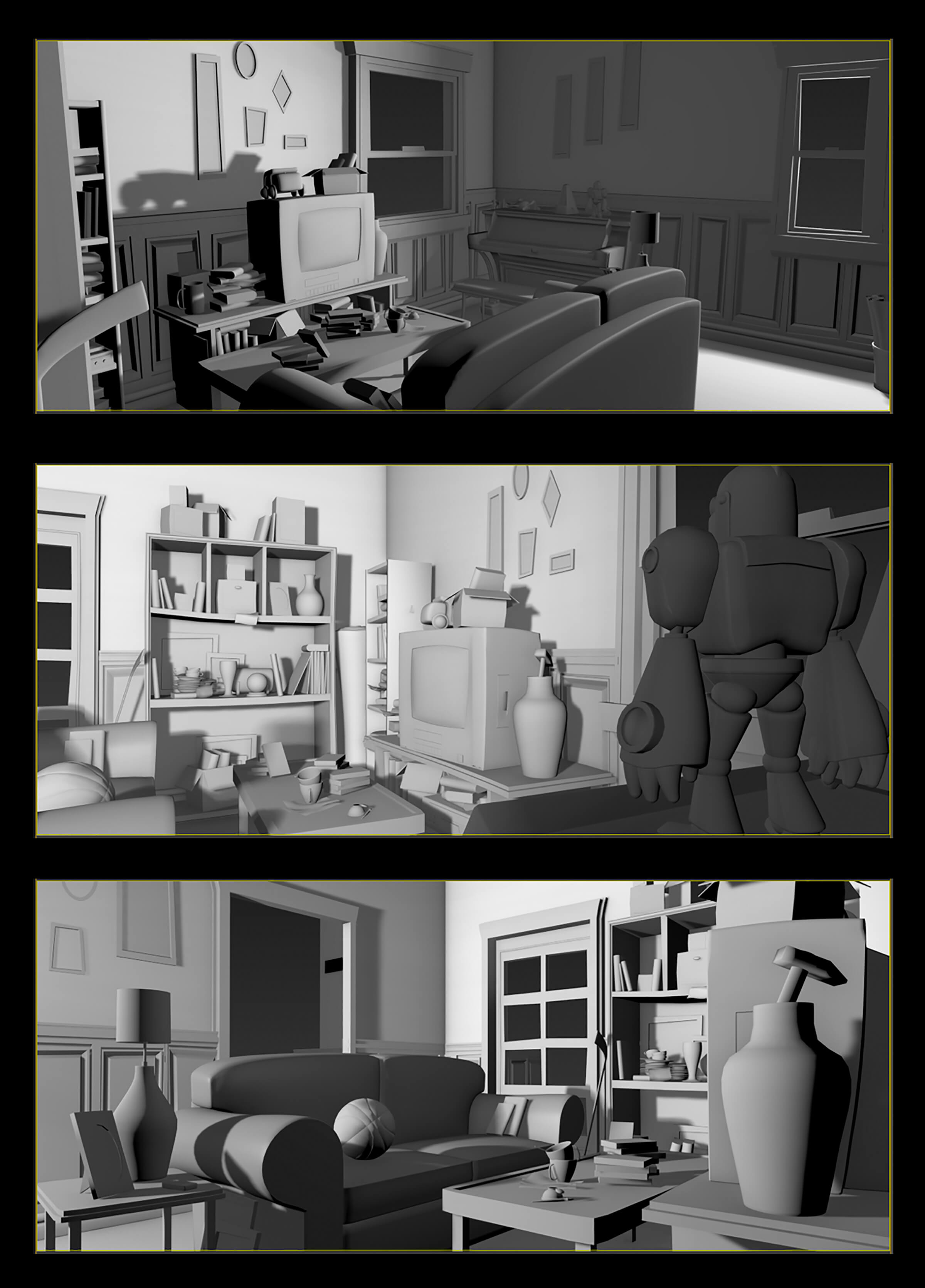 A messy, colorless 3D-modeled living room with a sagging shelves full of junk, a coffee table, and a small television set.