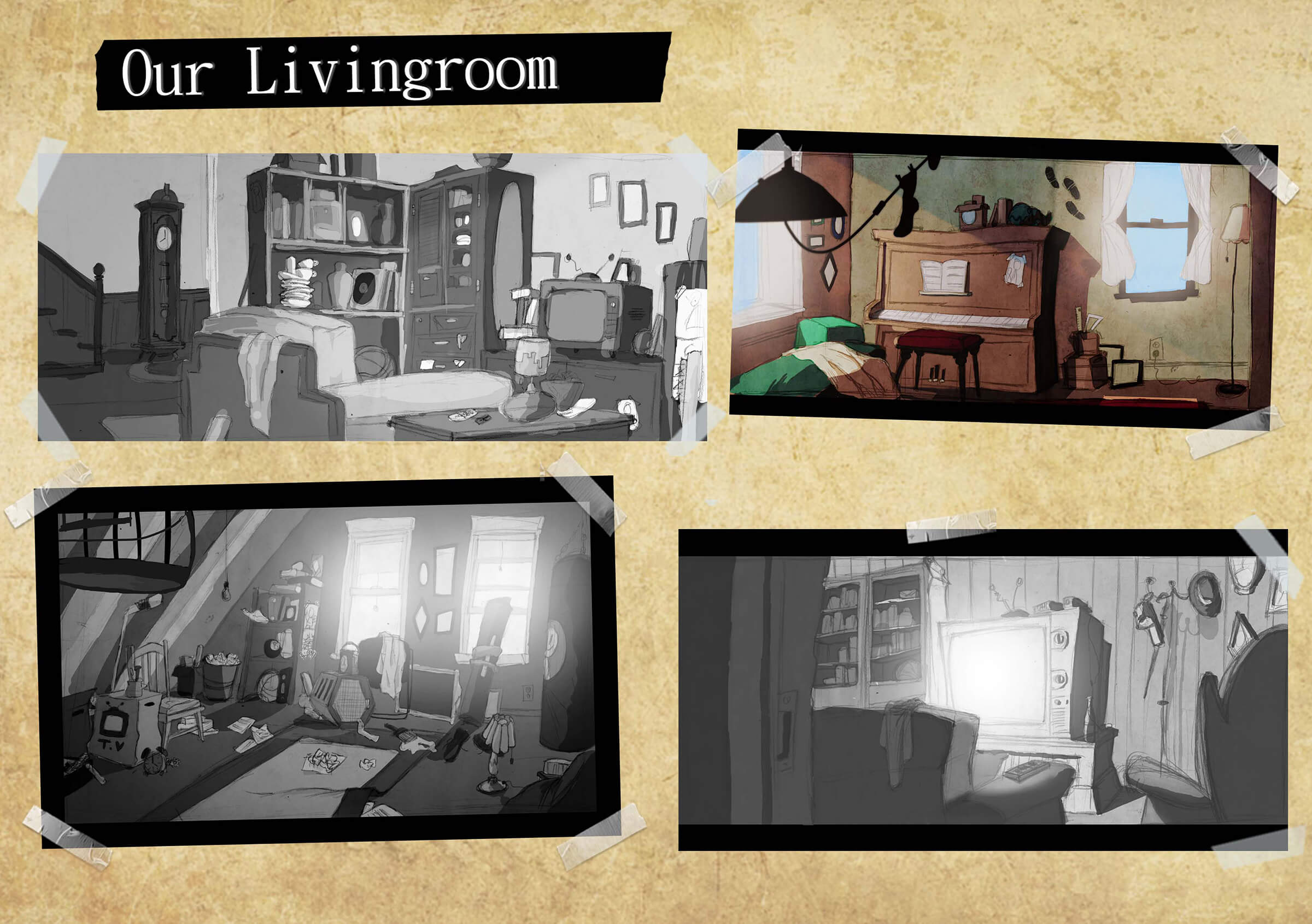 Concept art of a messy living room including a couch, television, upright piano, lamps, a grandfather clock, and shelves.