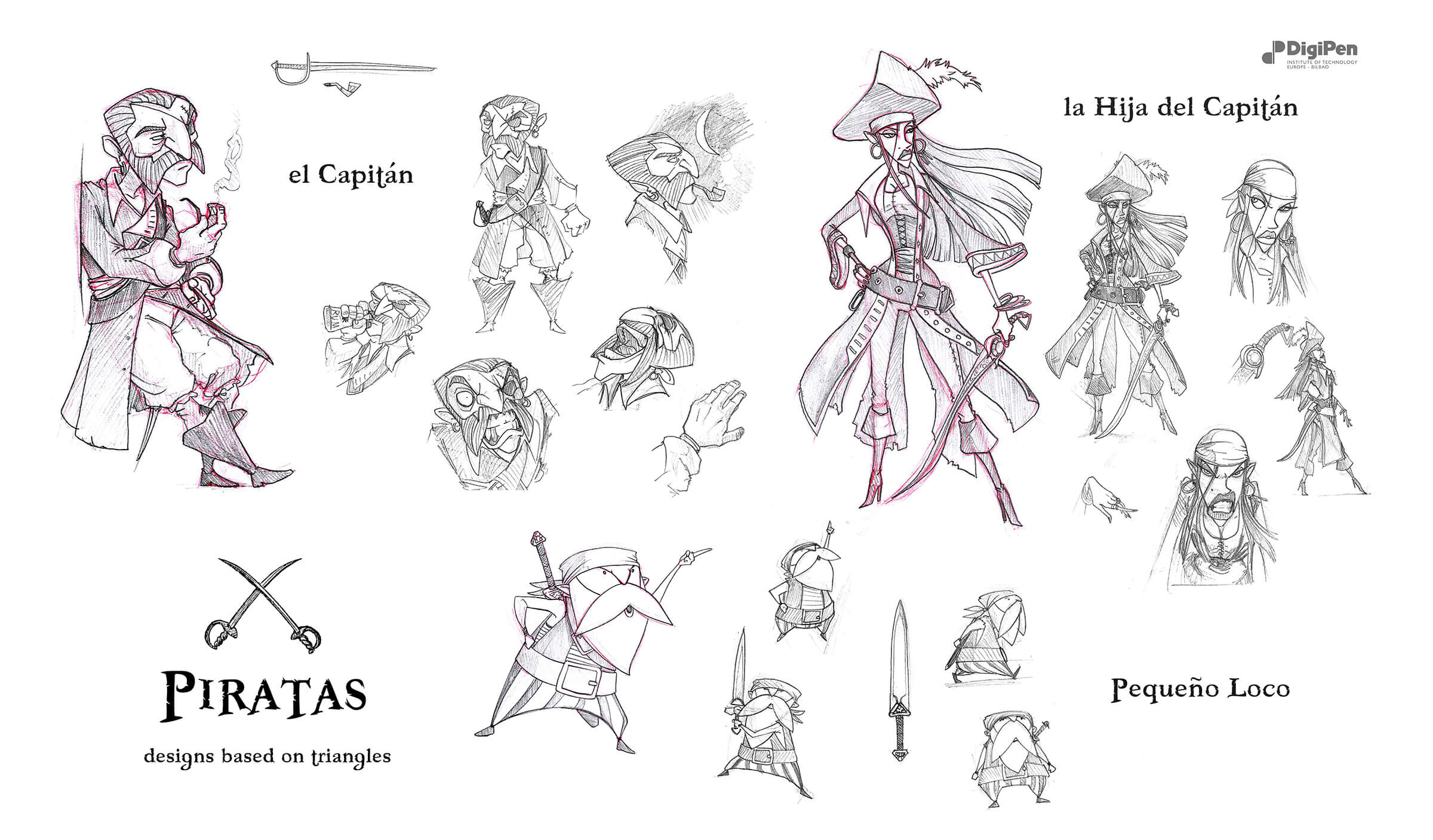 Black-and-white sketches of a pirate captain, his sword-wielding daughter, and an old, short pirate.