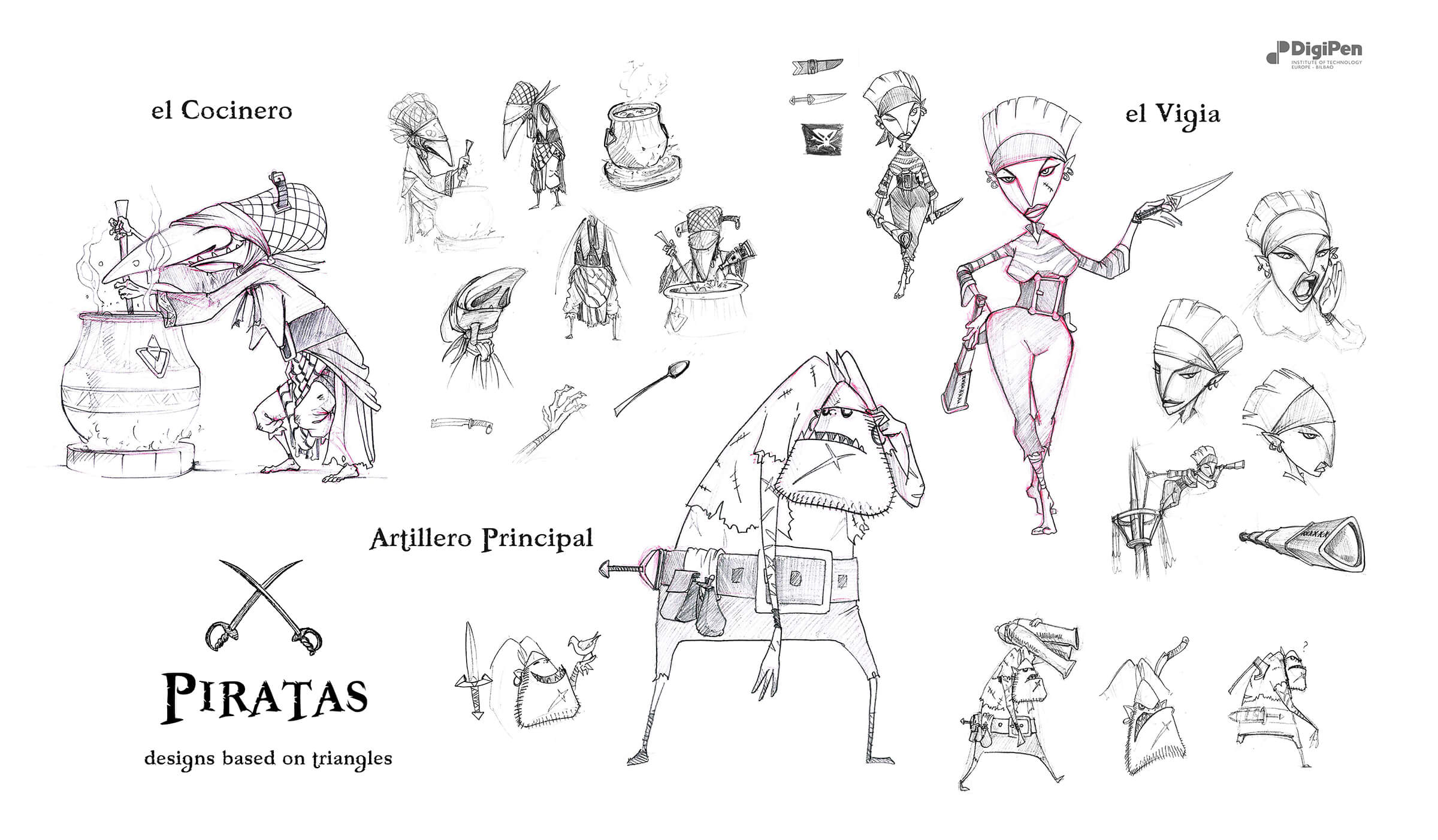 Stylized black-and-white sketches of an old cook, an angular watchwoman, and a clumsy pirate artilleryman.