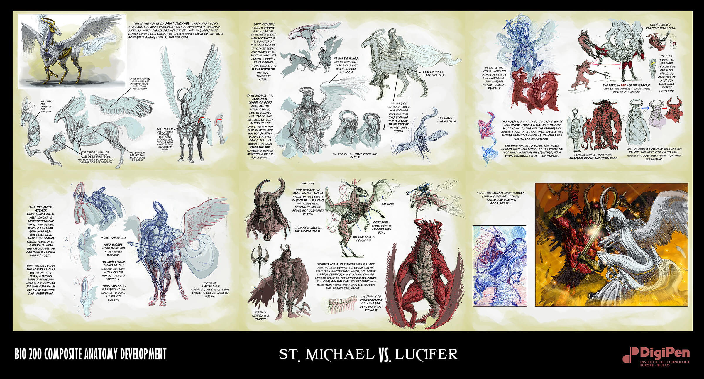 Designs and descriptions for an angelic character on horseback and a demonic figure on a dragon as they do battle.