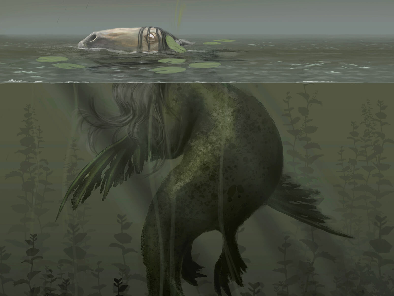 What appears to be a horse's head pokes above the surface of a lake, but a green sea-slug like creature actually lurks below.