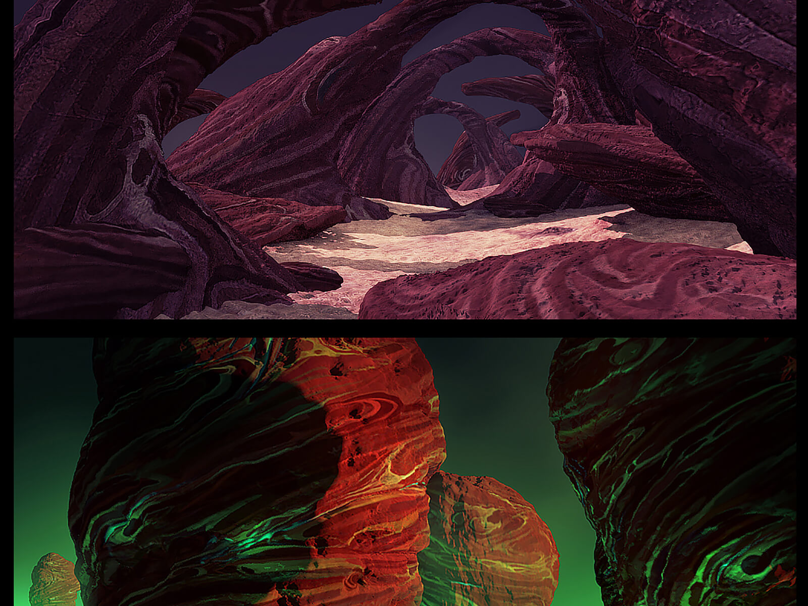 Two alien desert landscapes, one depicting mysterious rocky arches, the other colorful stone outcroppings.