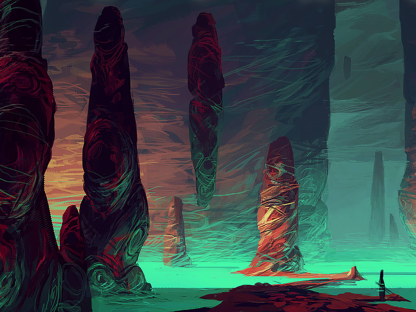 A dark alien environment with colorful rock outcroppings is lit from below by glowing aquamarine body of water.