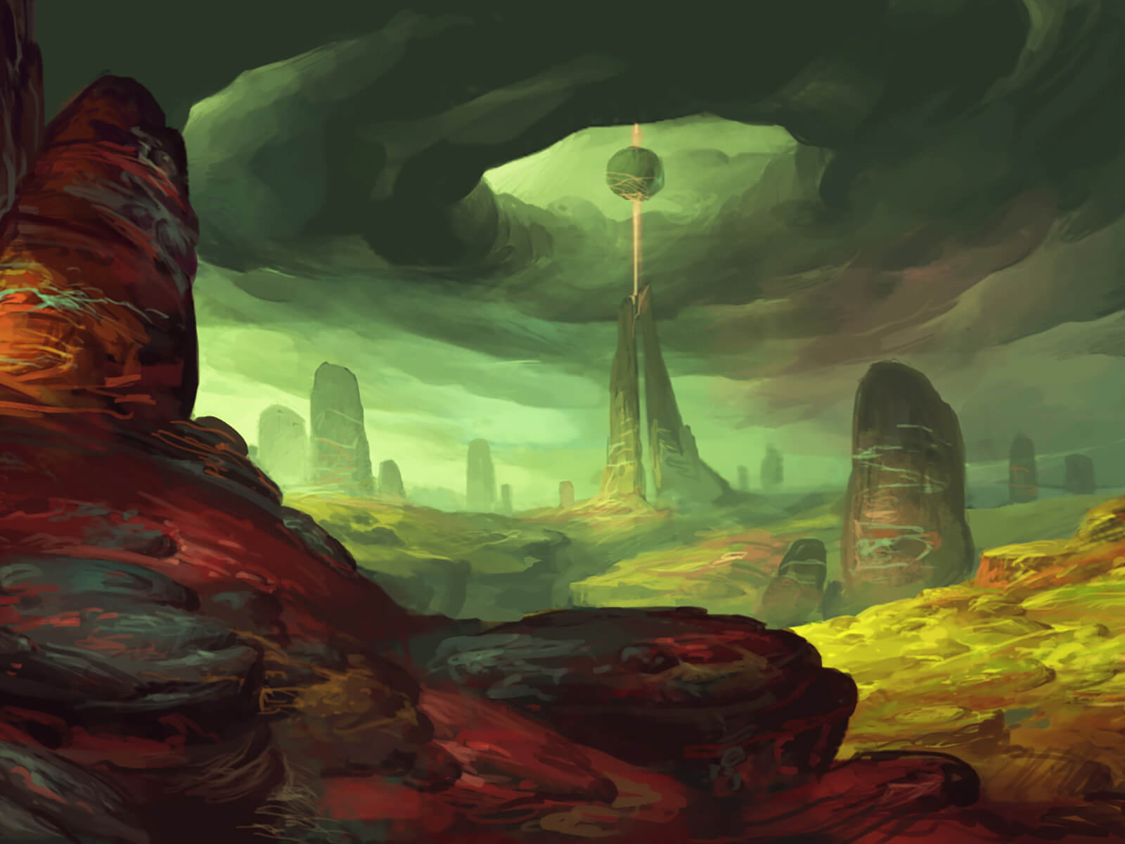 A rocky, alien environment with colorful outcroppings. A sphere floats above one such pinnacle surrounded by storm clouds.