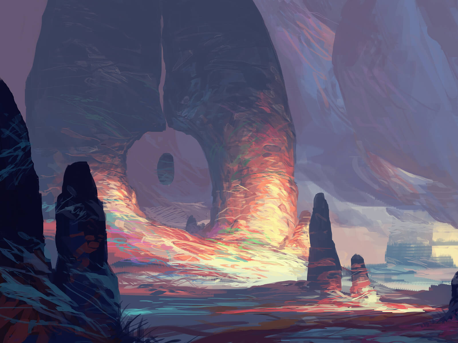 A rocky, alien environment with colorful outcroppings. An ovoid boulder floats inexplicably in between two stone spires.