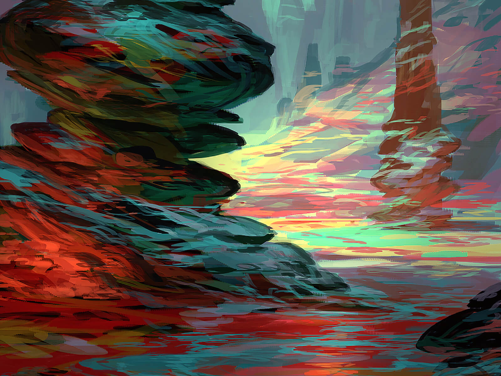 A rocky, alien environment with colorful outcroppings. A slender strip of stone hovers mysteriously above the landscape.