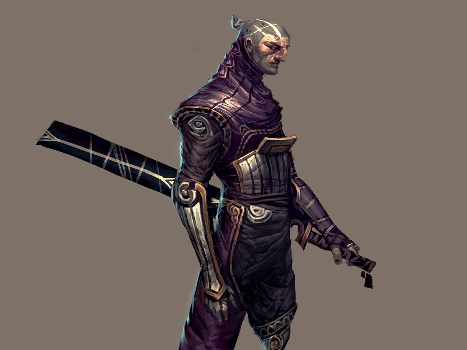 A stern warrior in an ornate, purple and silver uniform seen from the side with a sheathed sword at his hip.