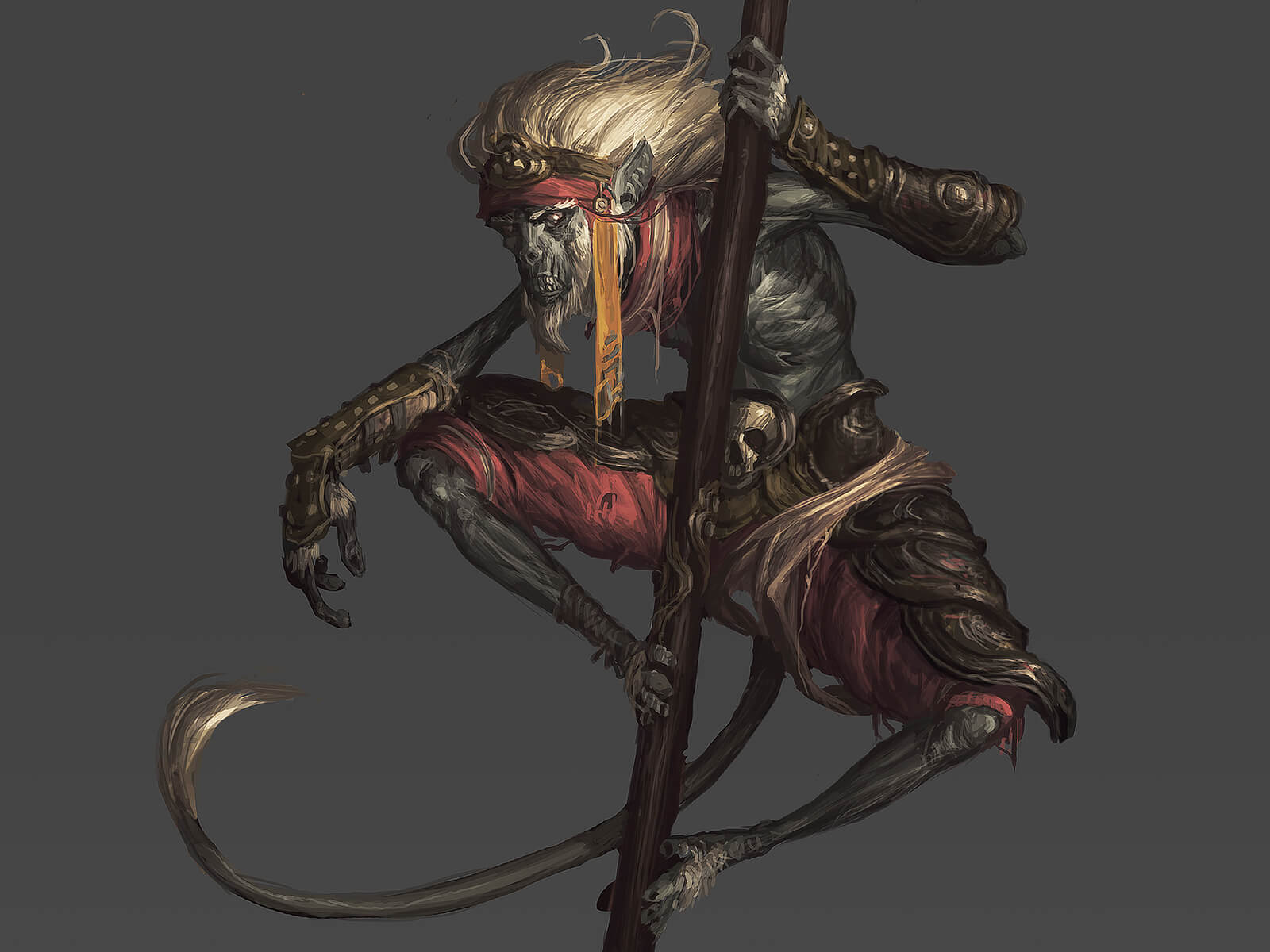 A desiccated or undead monkey with white hair balances on a tall wooden staff while dressed in ancient warrior garb.