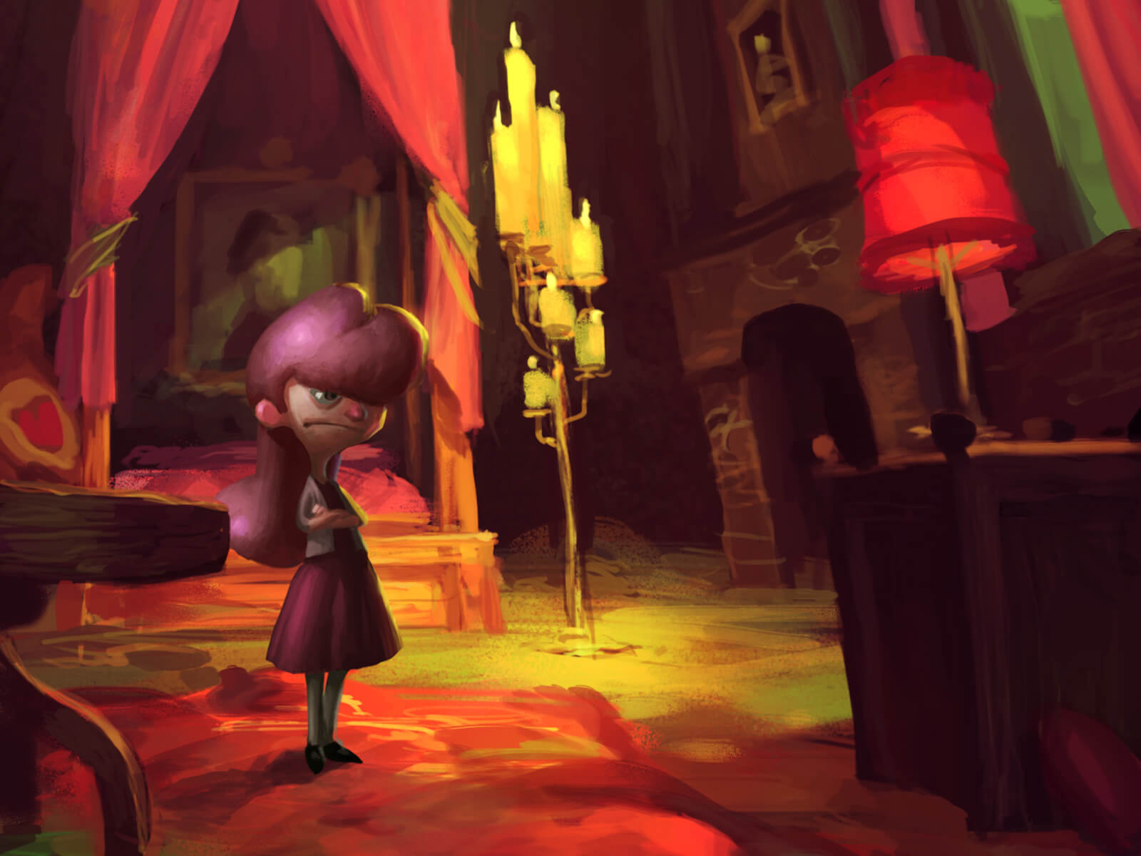 A young girl with an annoyed look stands in a cavernous, candlelit bedroom. Her hair, dress, and furnishings are colored pink