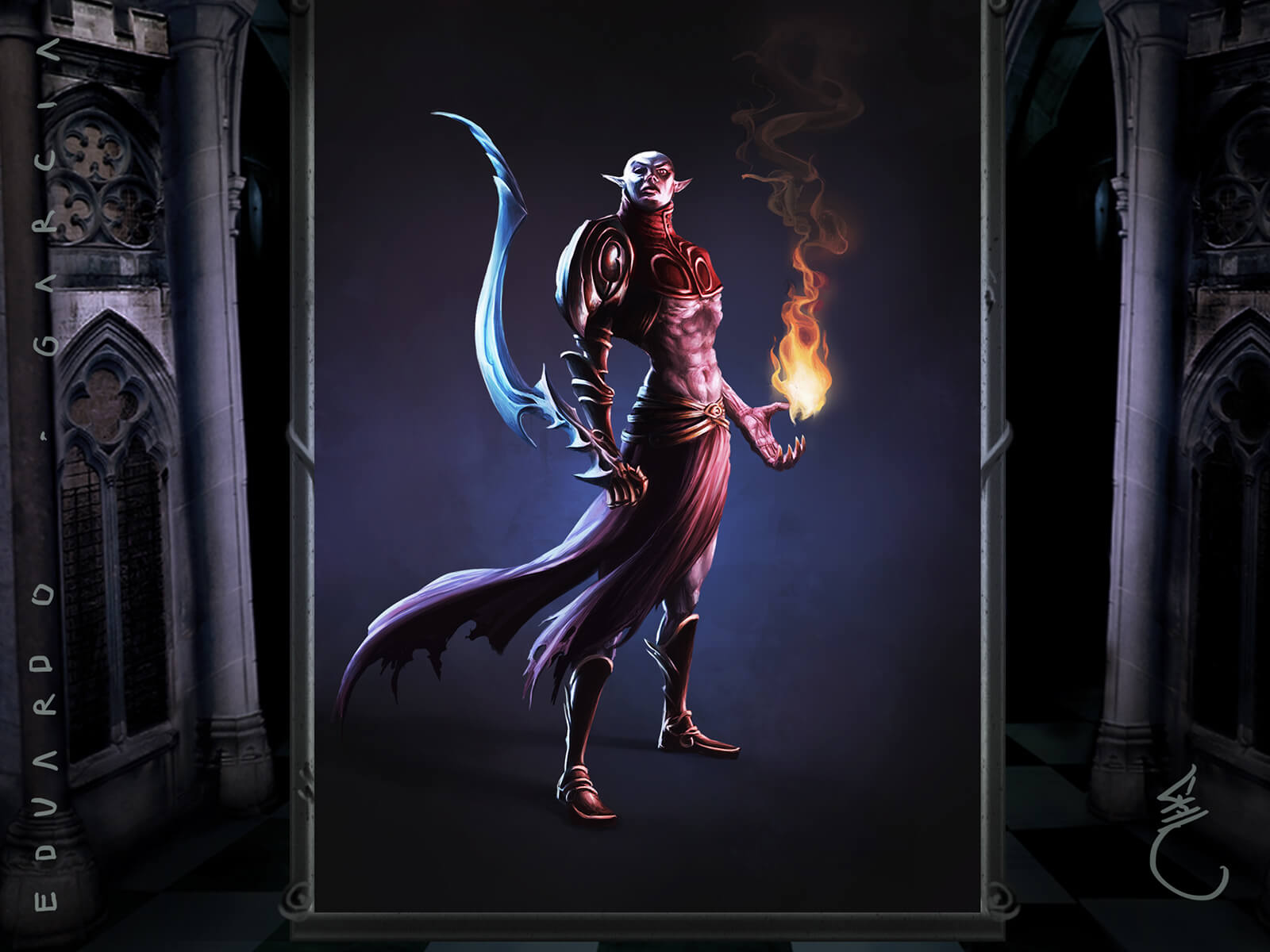 A demonic figure stands proudly with an ornate, curved blade in one hand, and a ball of flame in the other.
