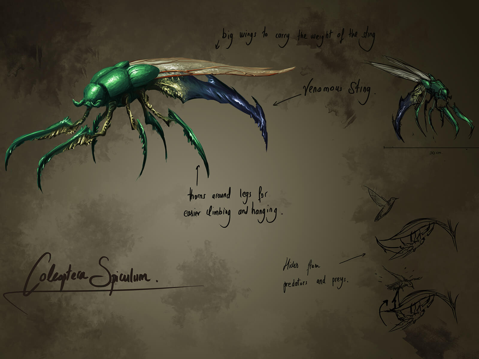 Concept art of a green, alien beetle with long, talon-like legs and a fearsome blue stinger protruding from behind.