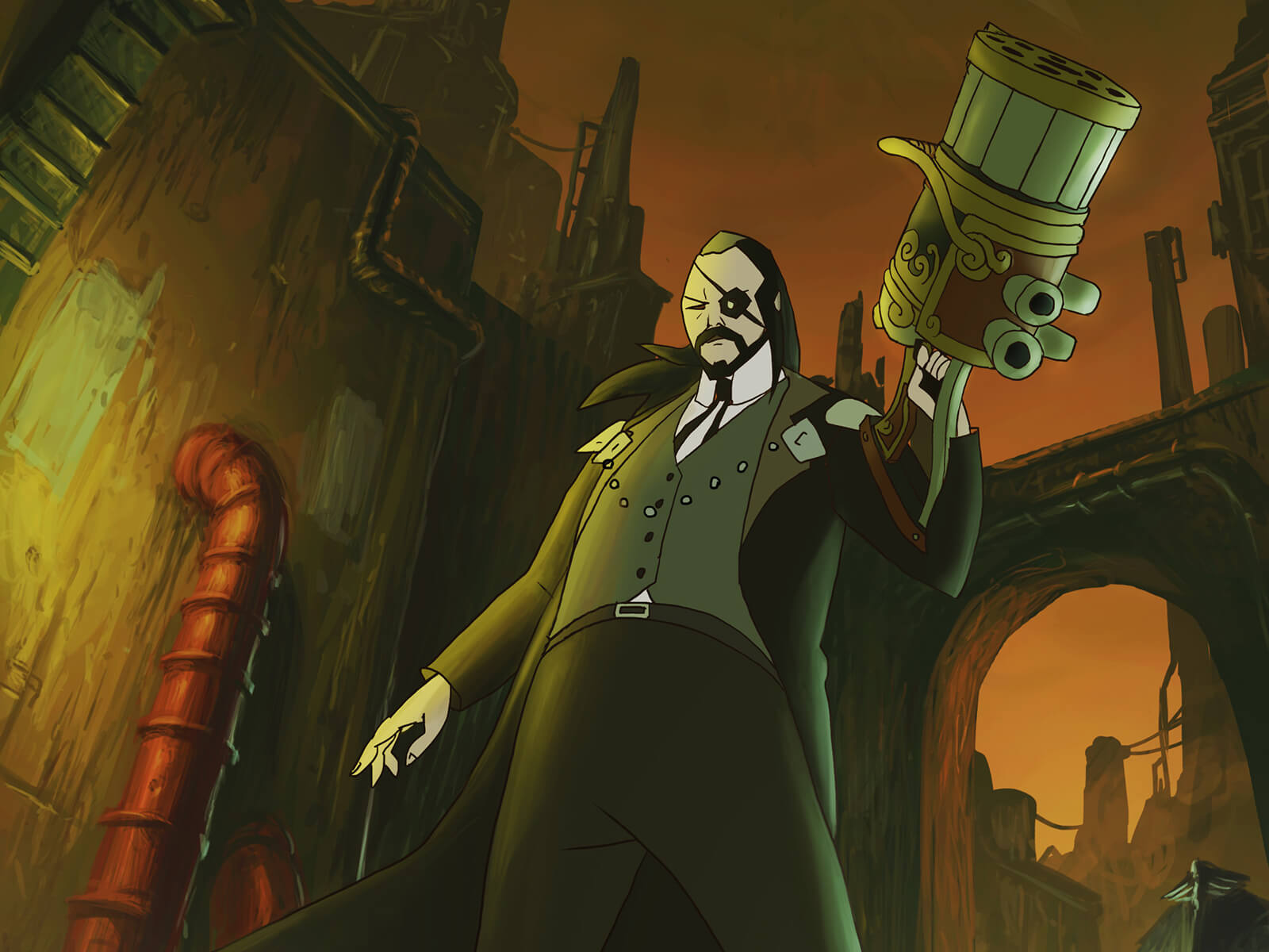 A man in an eye patch and steampunk garb stands in an industrial alleyway holding a large barrel-shaped weapon in one hand.