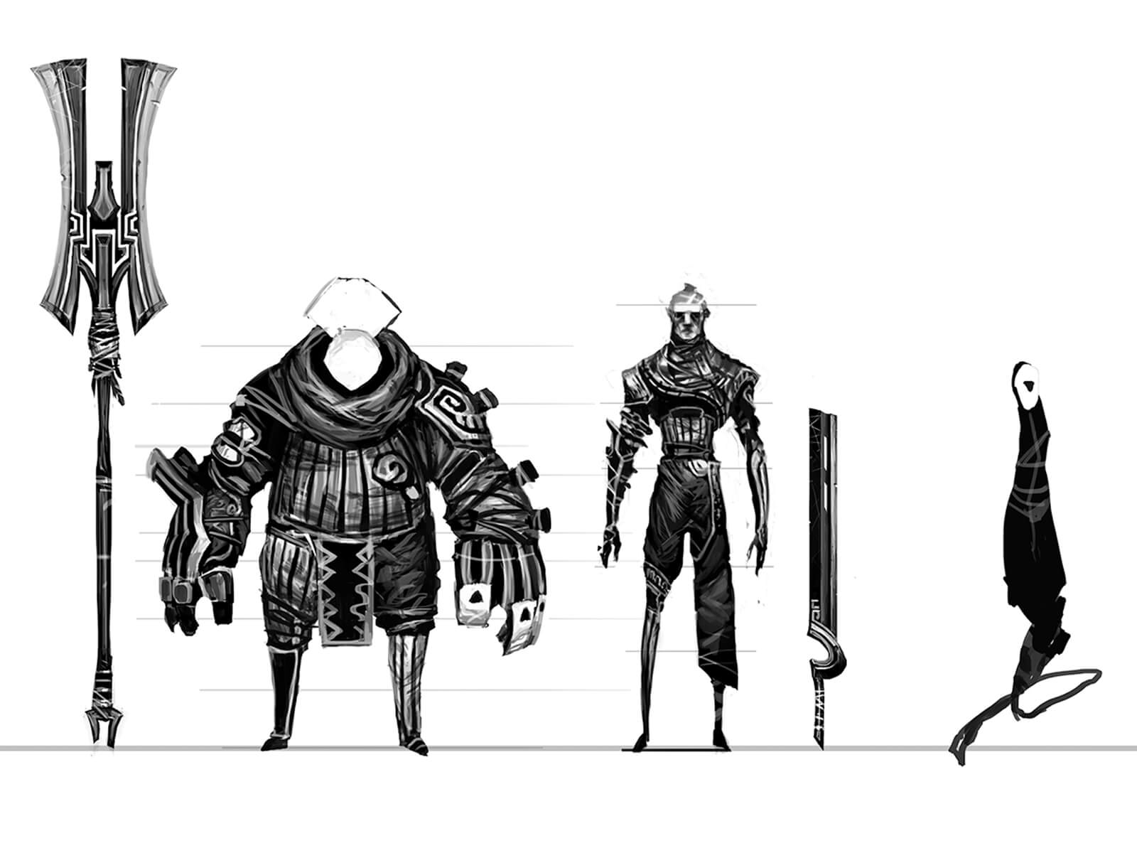 Black-and-white sketches of warriors in ornate battle gear standing face-forward next to their oversize weapons.