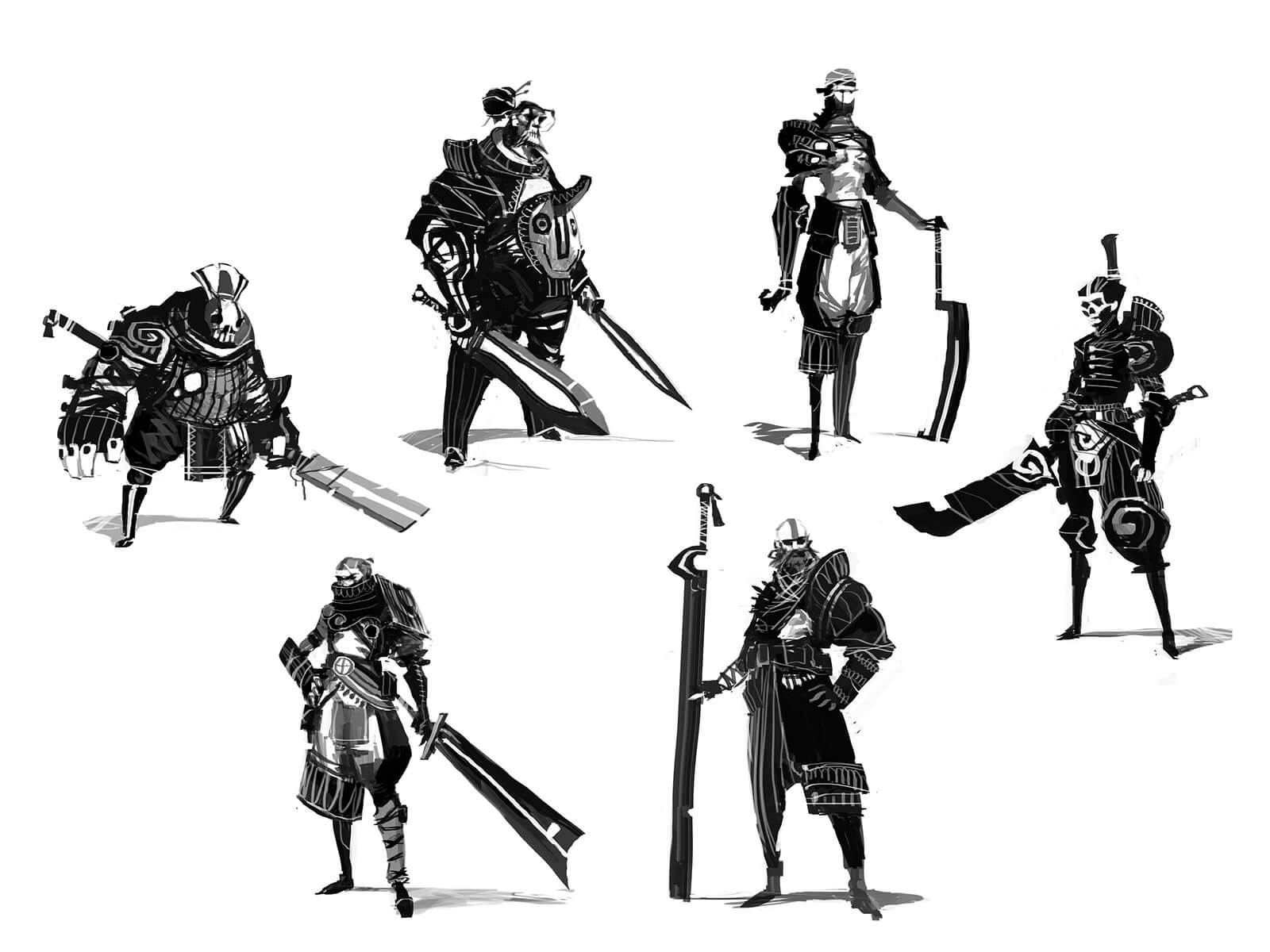 Black-and-white sketches of fearsome warriors posing with their oversized swords in ornate battle gear.