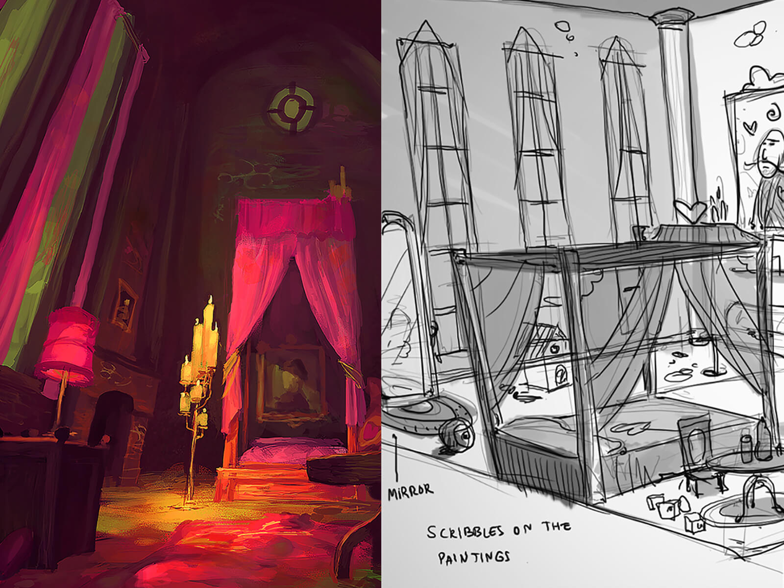 Black-and-white and color sketches of a spooky castle, bedroom, dining room, and laboratory.