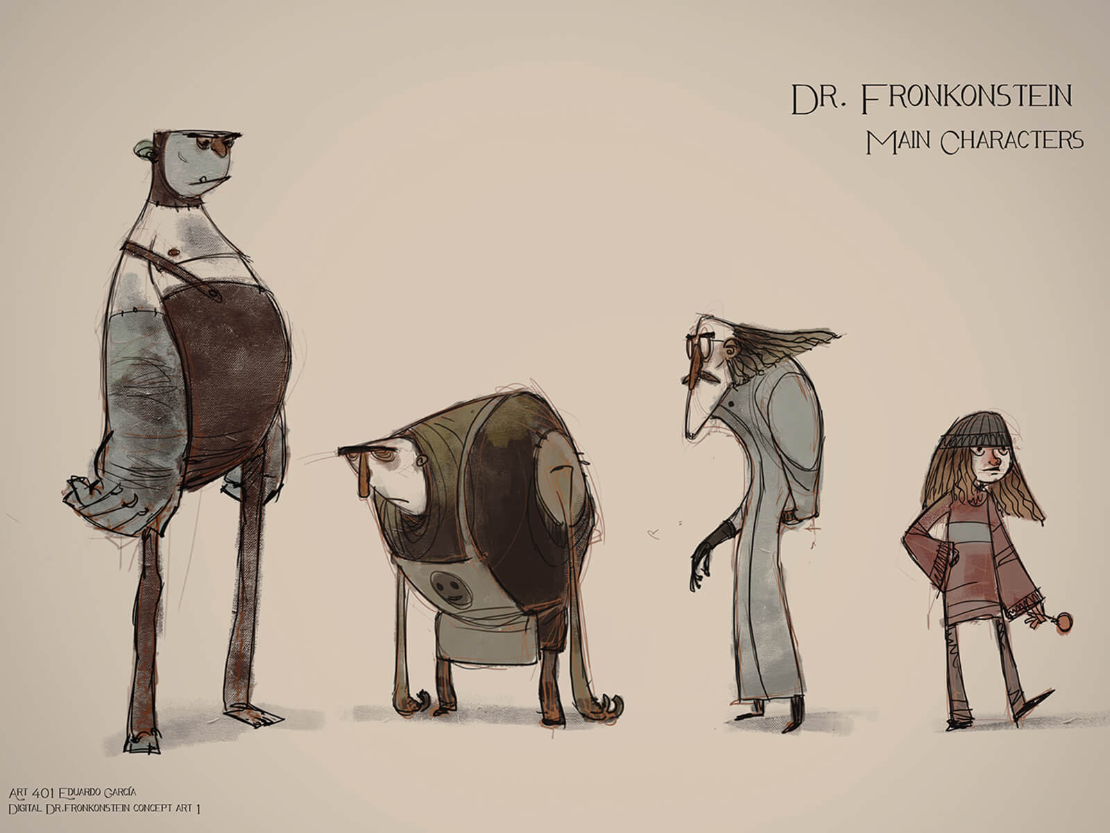 Concept sketches of characters, including a tall monster, hunched-over assistant, mad scientist, and a young, modern girl.