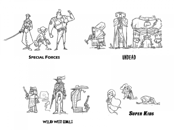 Sketches of 6 groups of combatants each in categories such as Undead, Super Kids, Wild West Girls, and Special Forces.