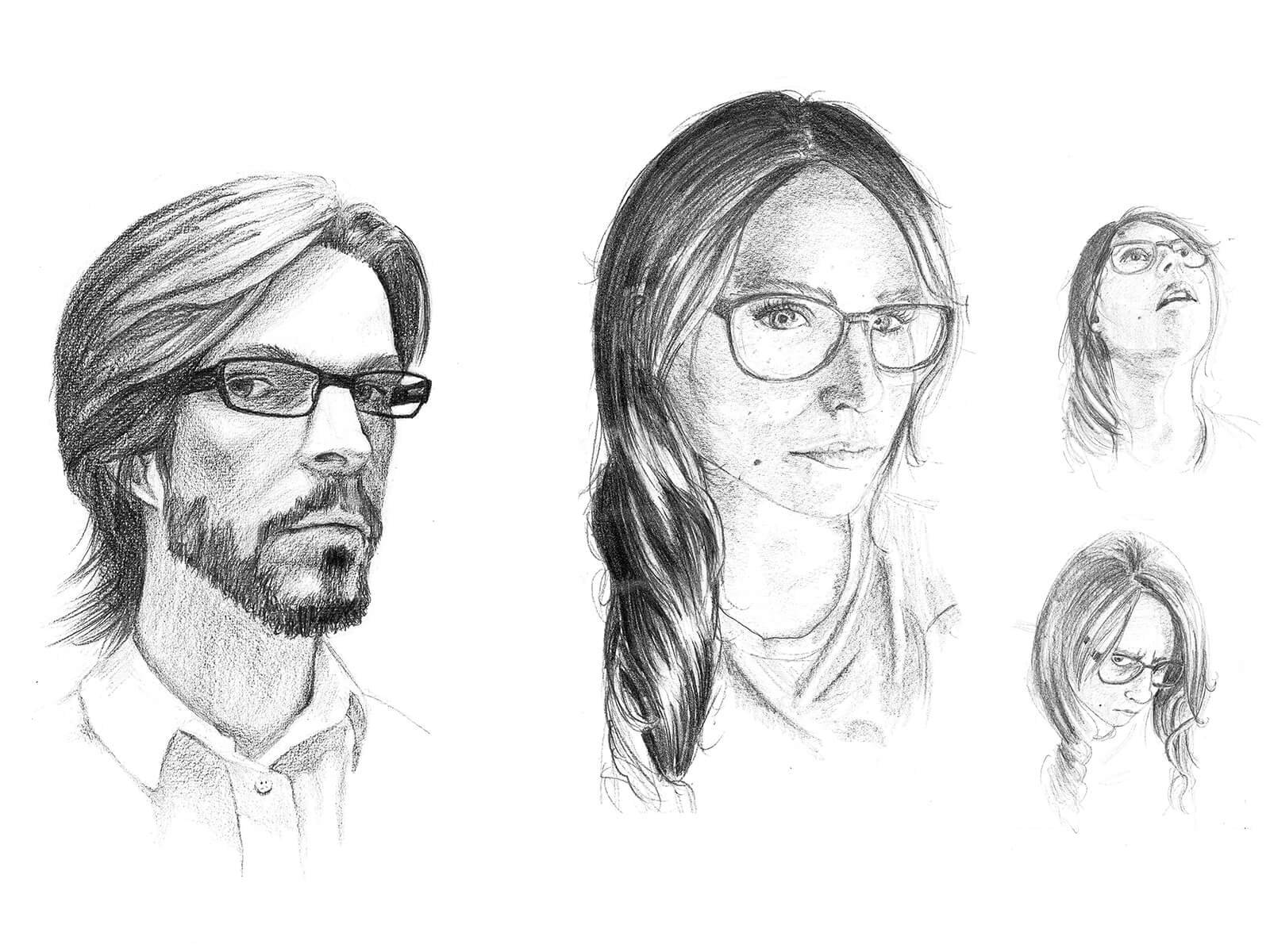 Black-and-white self portraits of a male and female artists' faces. Each wear eyeglasses and the man has a beard.