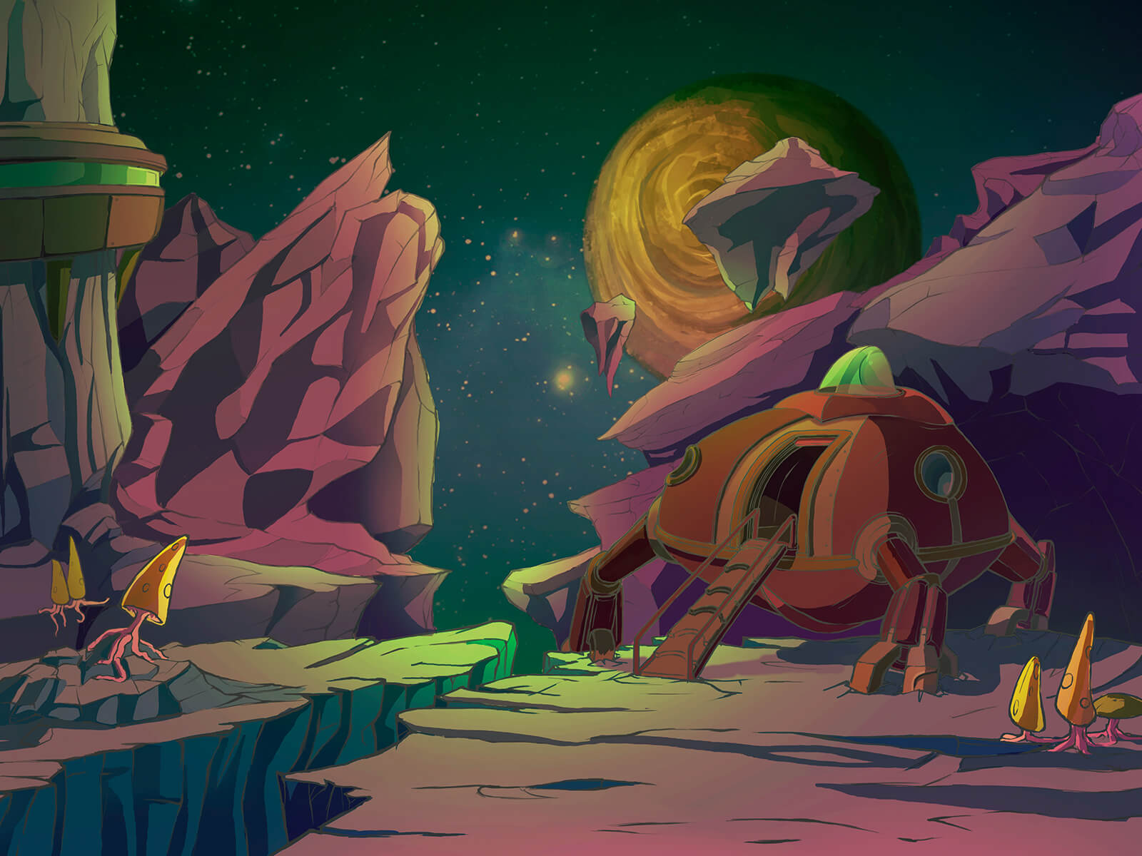 Rocky alien world with strange fungi and trees dotting the landscape. A red landing vehicle has lowered a ramp nearby.