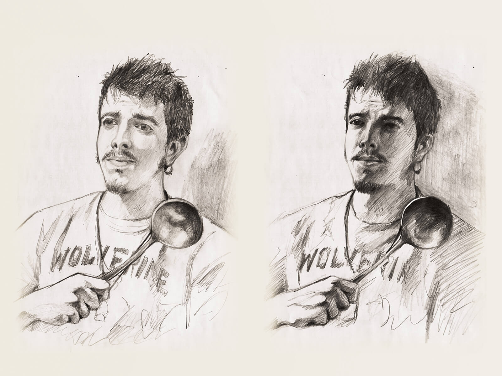 "Two portraits in different lighting of a man wearing a shirt reading ""wolverine"" holding a punch ladle across his chest."