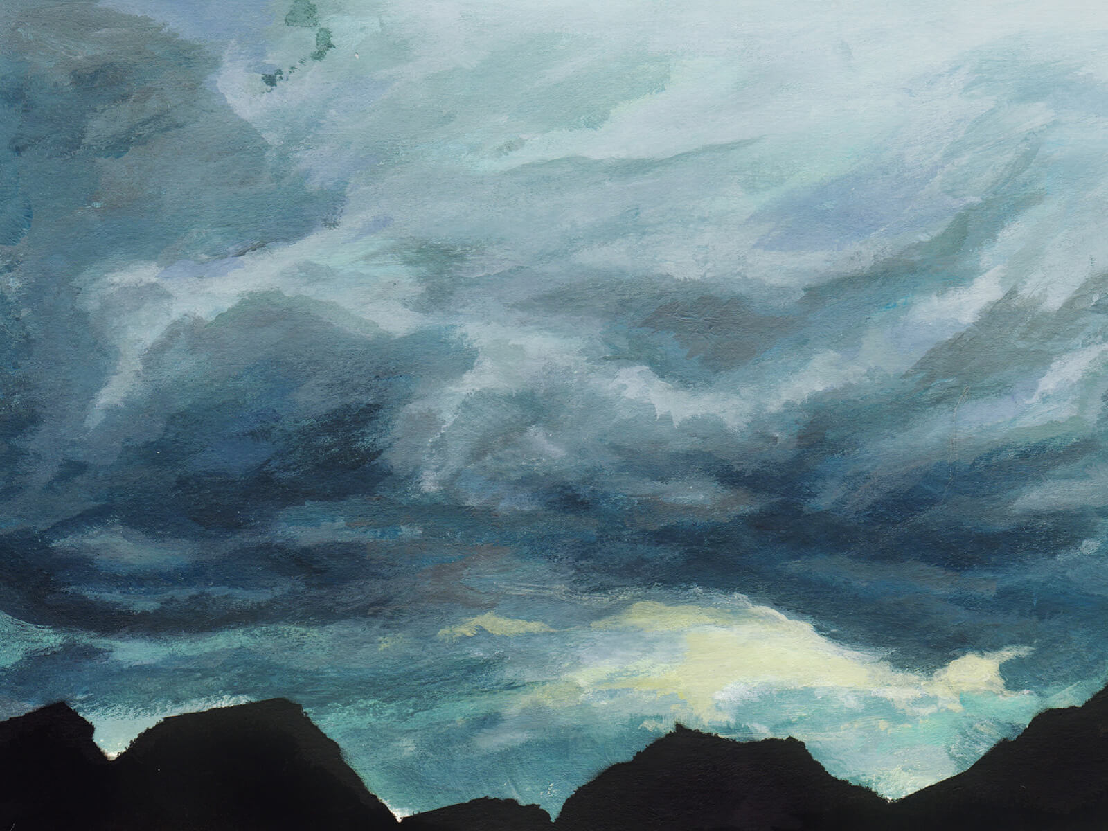 Painting of gathering gray-blue storm clouds above black mountain peaks.