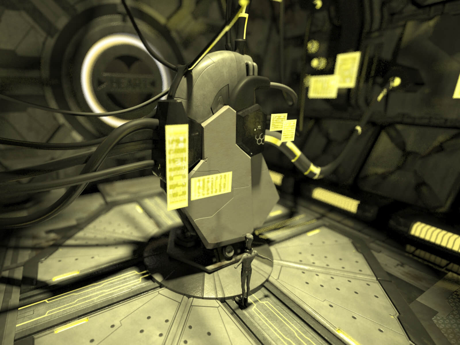 3D CGI concept image of a man standing before a towering mechanical metal structure hooked into the walls by tubes and cables