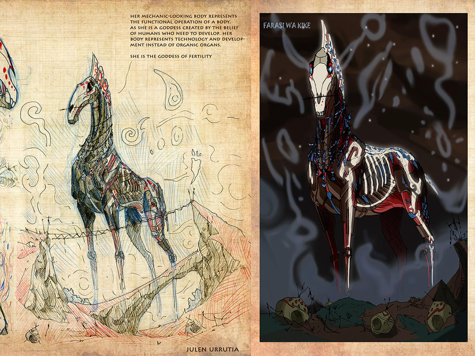 Concept art of a red-white-and-blue adorned skeletal-mechanical horse and red-colored shamans in ancient garb.