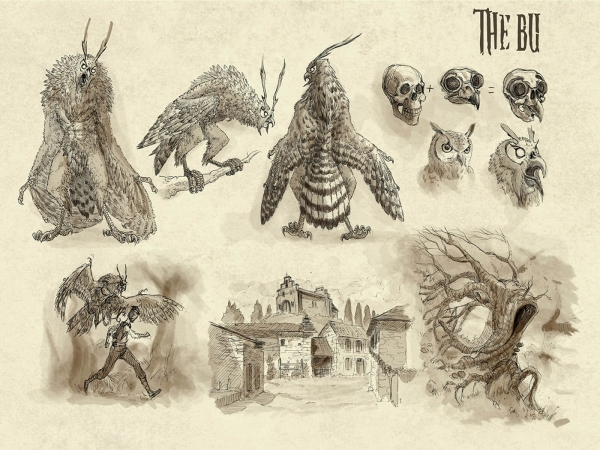 Black-and-white sketches of a massive, owl-like beast, including its anatomy and explanation of this habits.