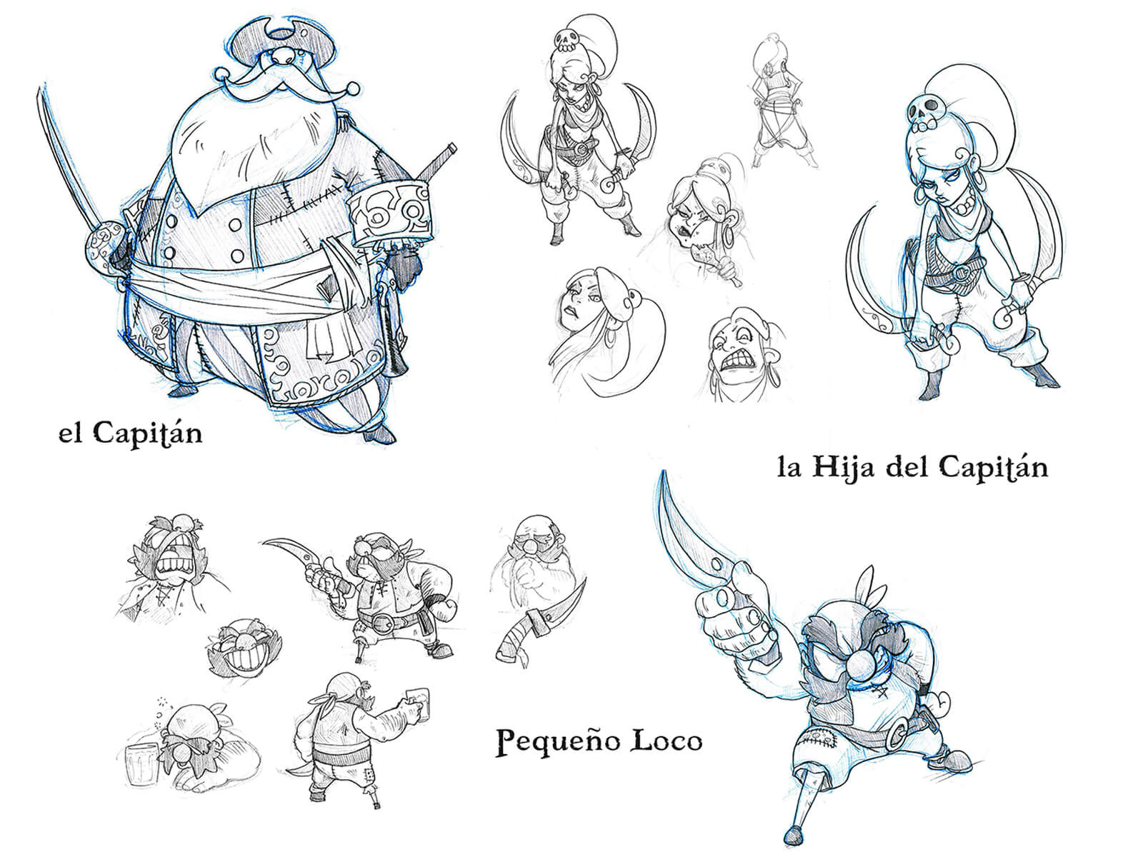 Black-and-white sketches of a rotund pirate captain, his sword-wielding daughter, and an elderly pirate with a dagger.