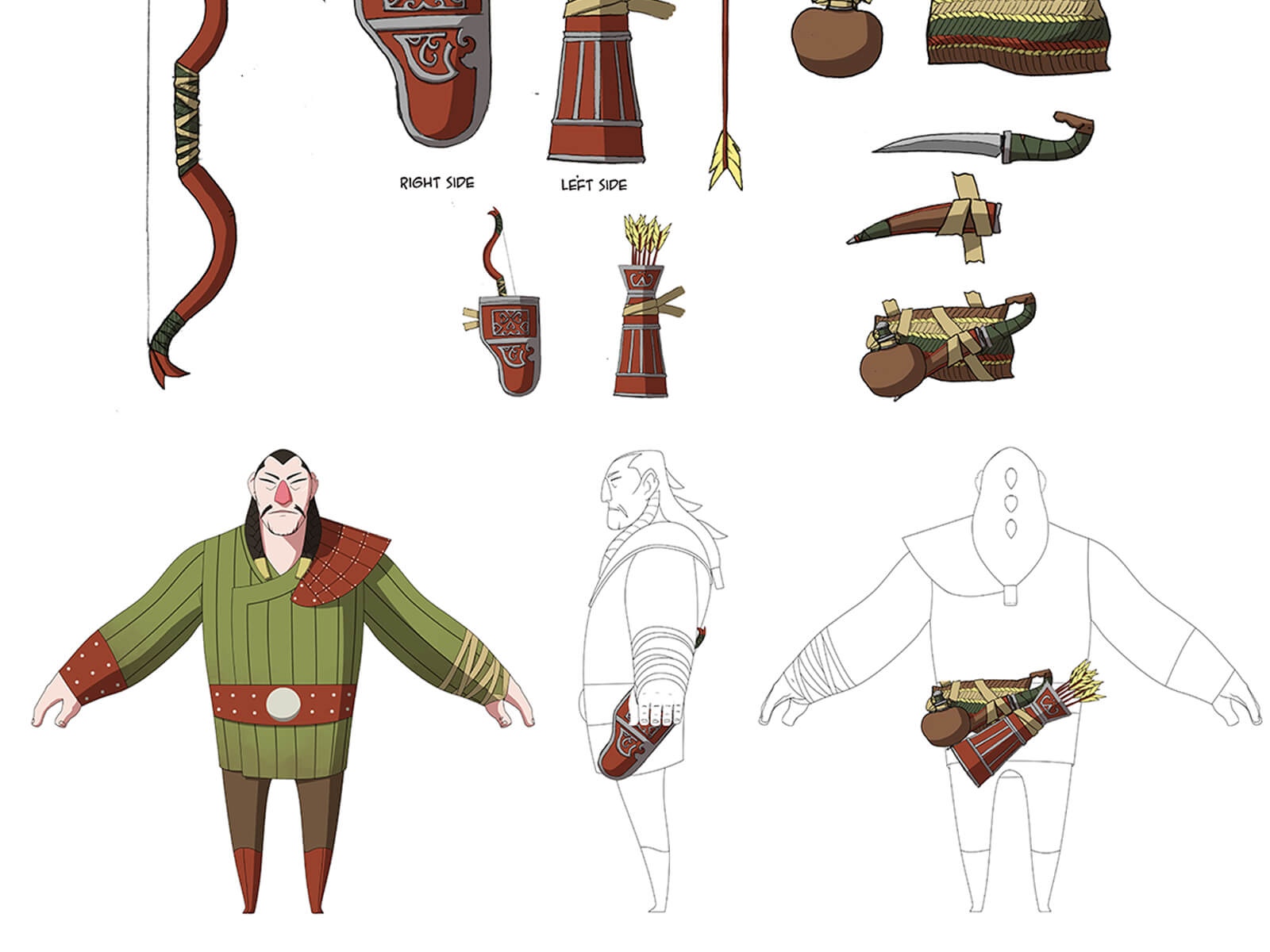 Color sketch of an ancient hunter and his equipment including a bow, arrows and quiver, knife, and water pouch.