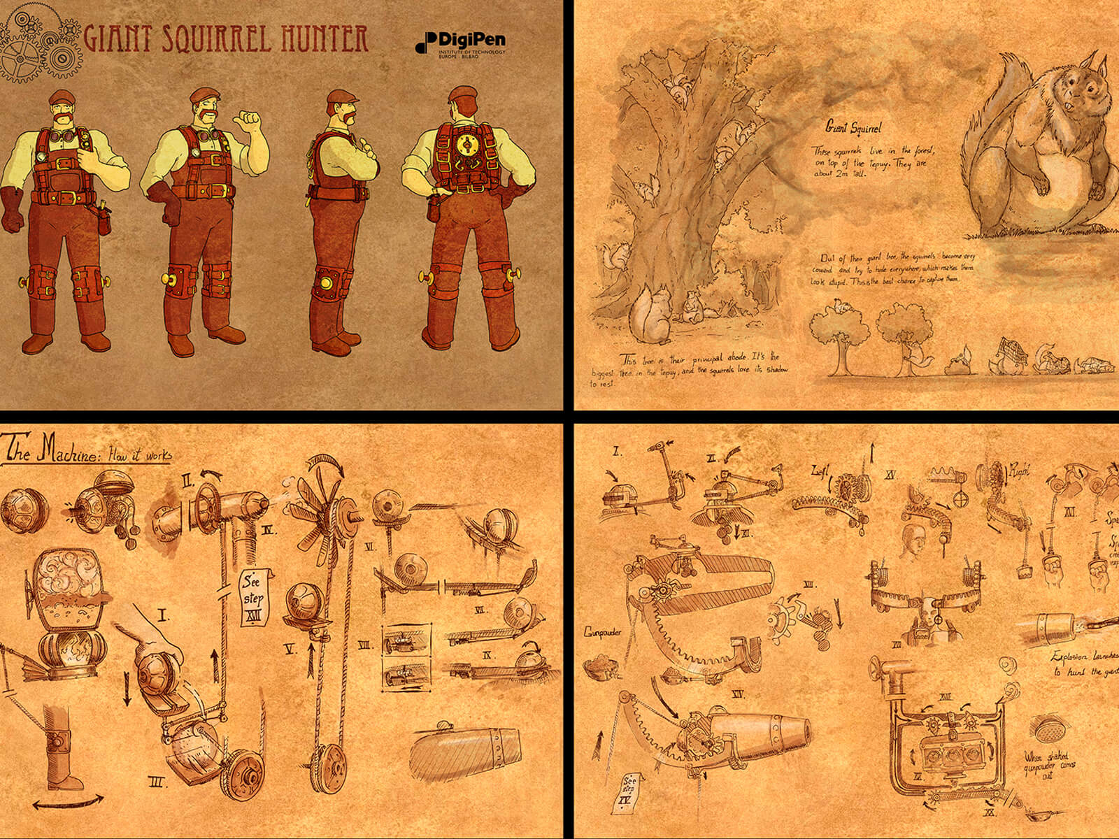 Sepia-toned concept art of a squirrel hunter character, his mechanical equipment, and a description of giant squirrel beasts.