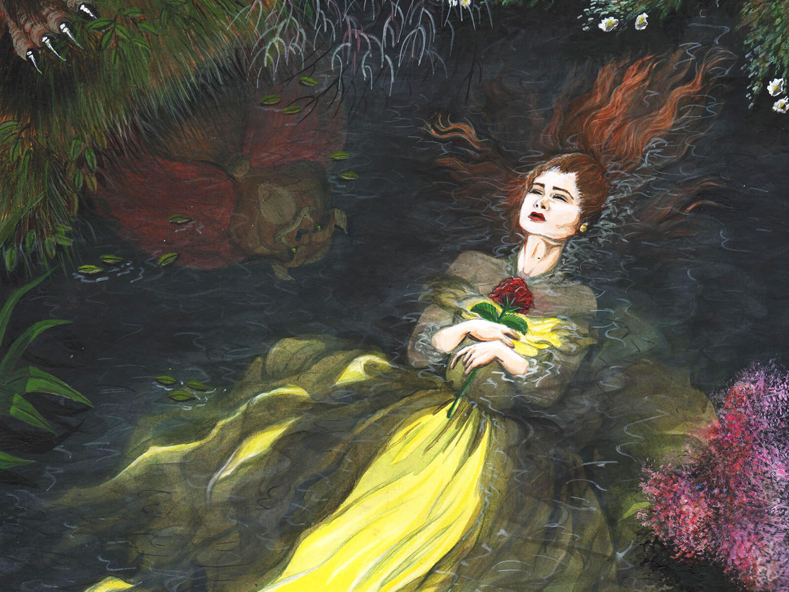 A woman in a flowing yellow dress clutches a single red flower at her chest floating unconscious in a forest pond.