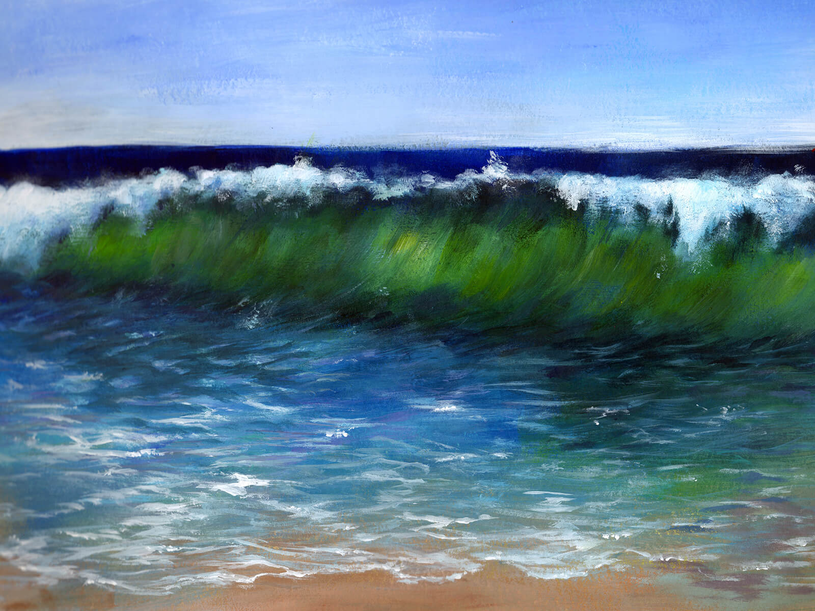 A greenish wave crests toward the viewer near a sandy shore. Blue skies and a deeply blue ocean are seen behind.