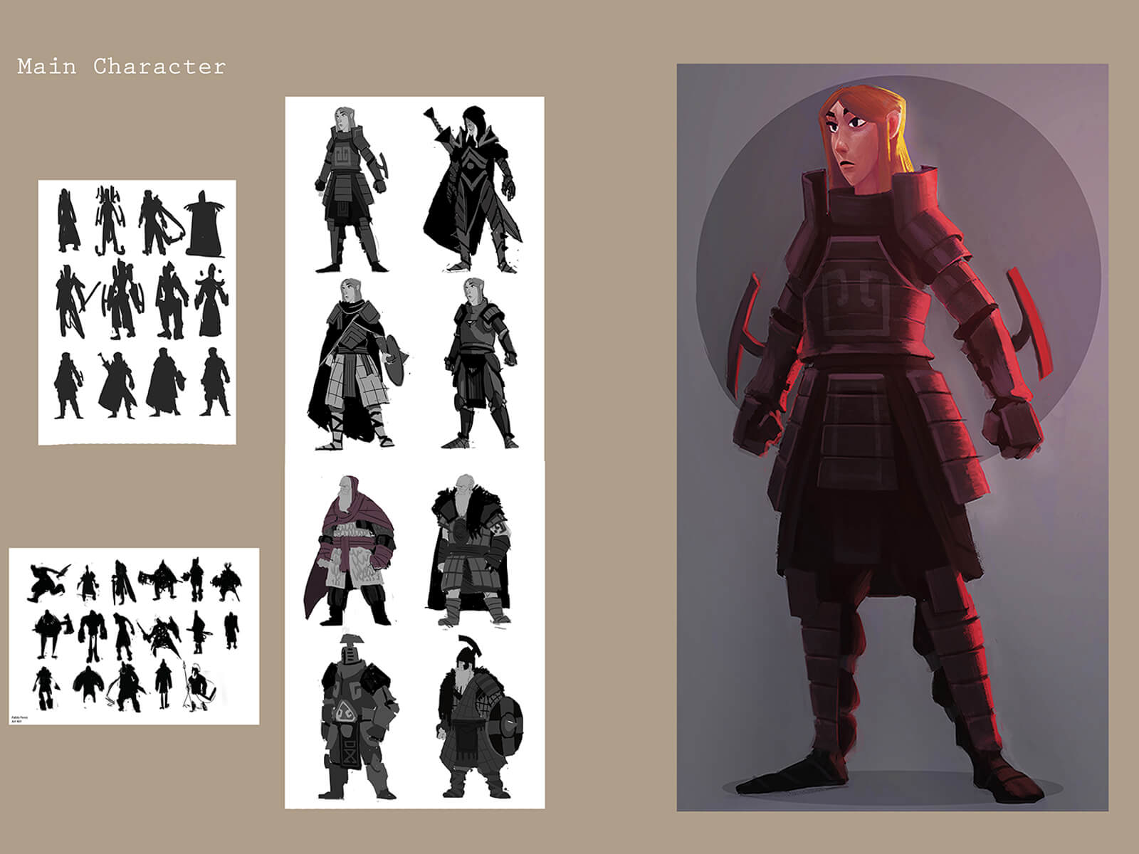 Black-and-white, color, and silhouette drawings of various warriors standing in different armor sets and styles.