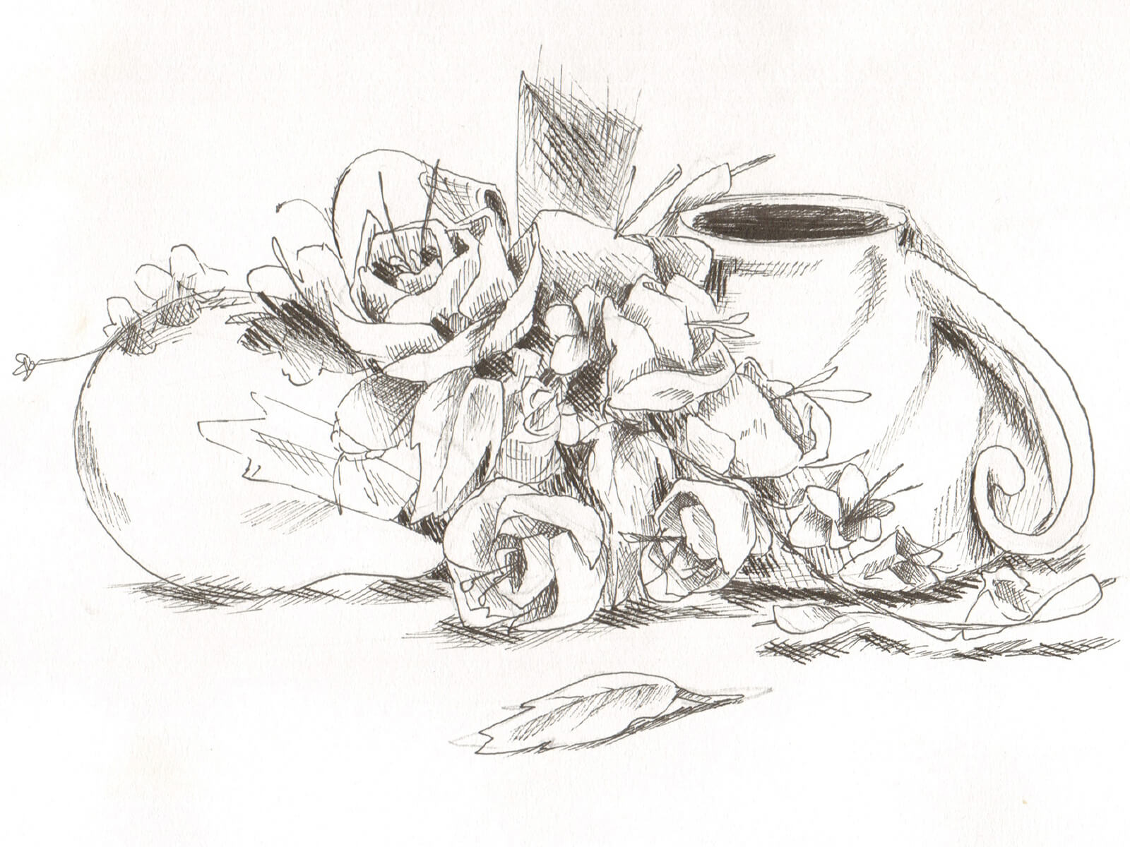 Still-life, black-and-white sketch of an overturned cup, light bulb, and flowers.