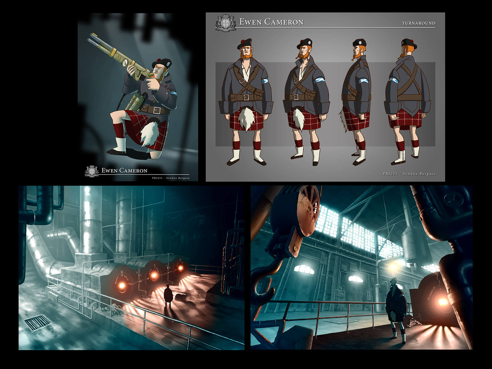 Color concept art of an orange-haired man in a warehouse wearing Scottish highlander garb and posing with steam gun.