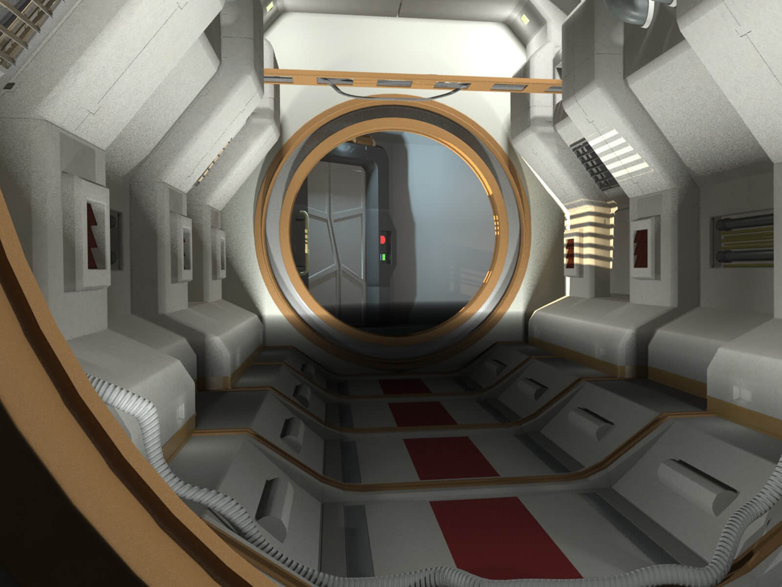 Cylindrical white and red corridor in a sterile, futuristic style ending at a round porthole to another area.