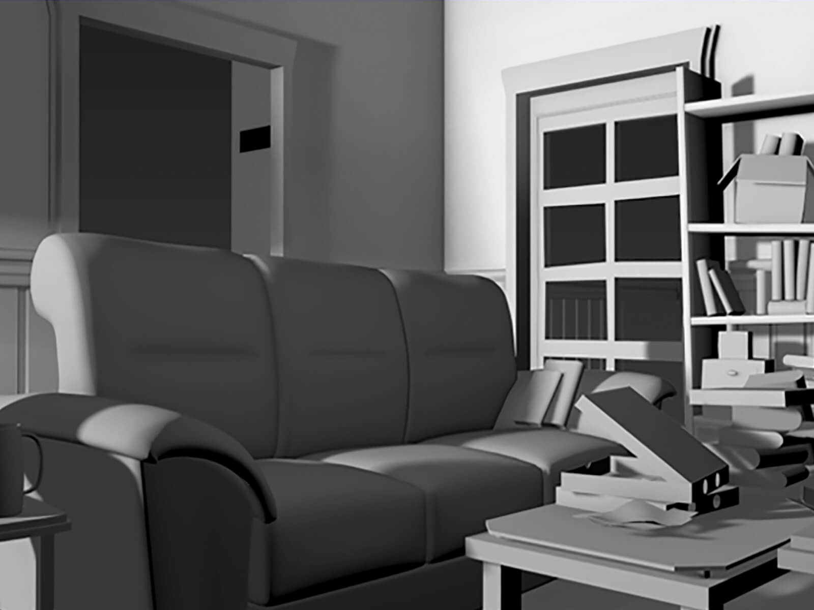 A colorless 3D-modeled living room with a couch in front of a small coffee table with a pizza box and books piled on top.