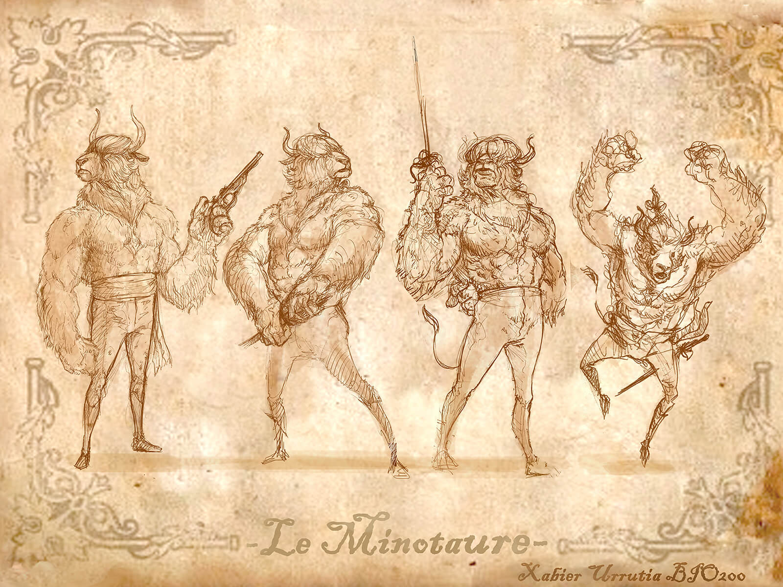 Black-and-white sketches of a minotaur wielding a rapier and a pistol, including its lair and description of its habits.