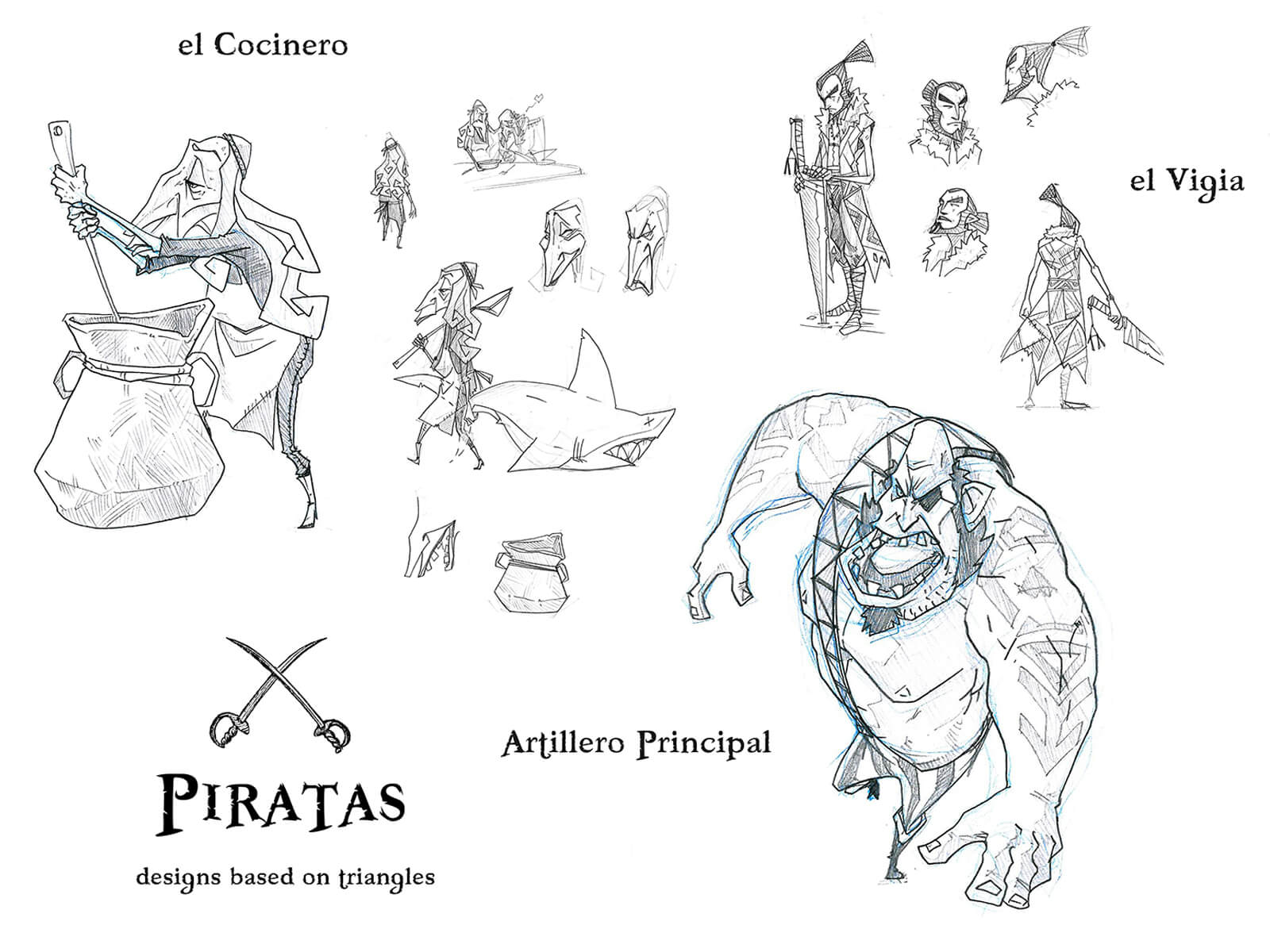 Black-and-white sketches of an old cook, a sword-wielding watchman, and a hulking pirate artilleryman.