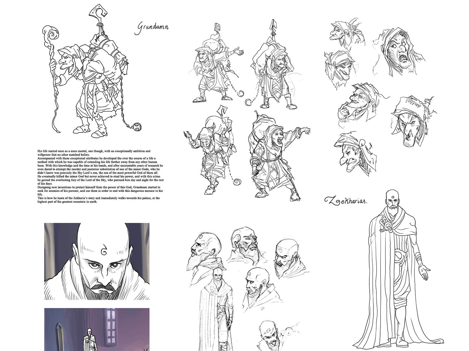 Black-and-white sketches of a hunched over goblin with a large rucksack and a tall, bald robed man with a beard.