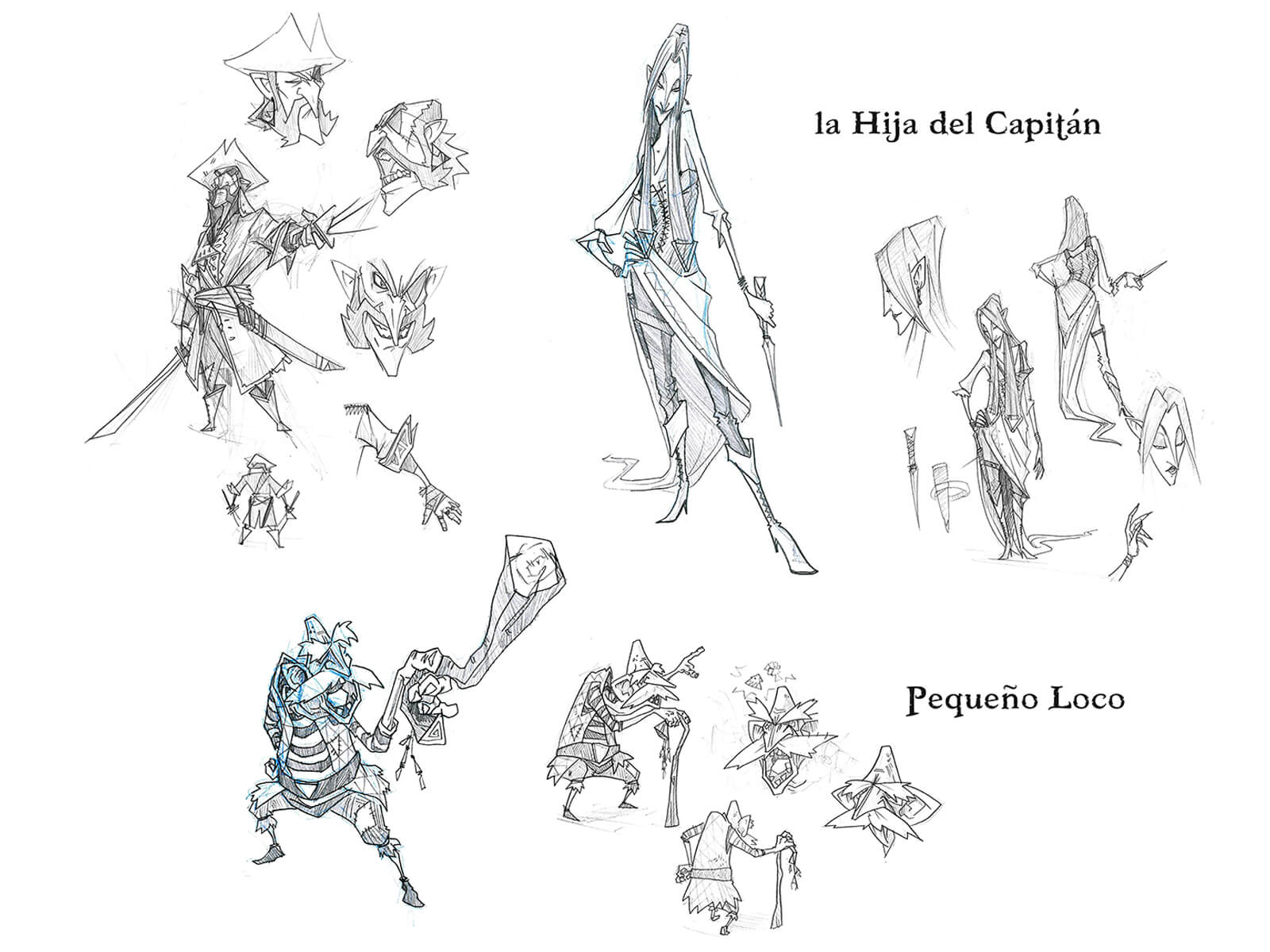 Black-and-white sketches of an angular pirate captain, his daughter, and an elderly man with a walking stick.