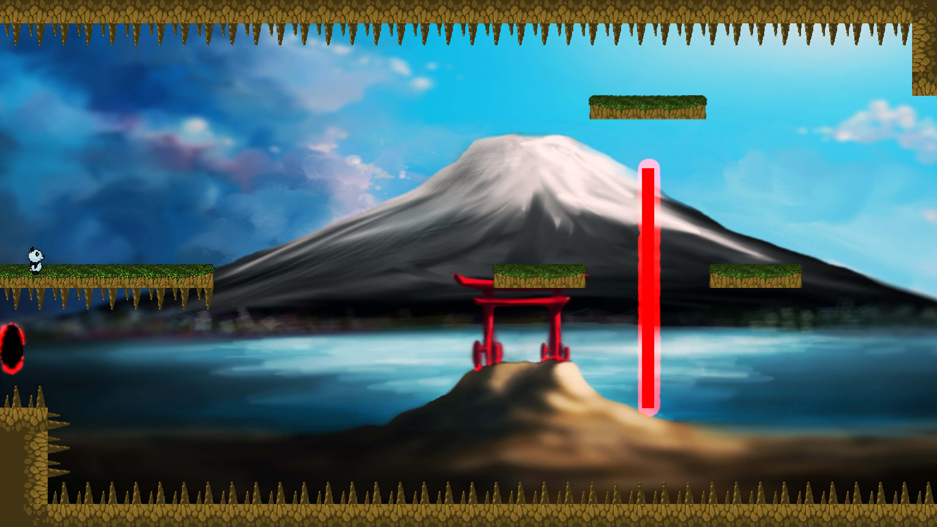 A panda stands at the left of the level, a large mountain and a Shinto shrine in the background.