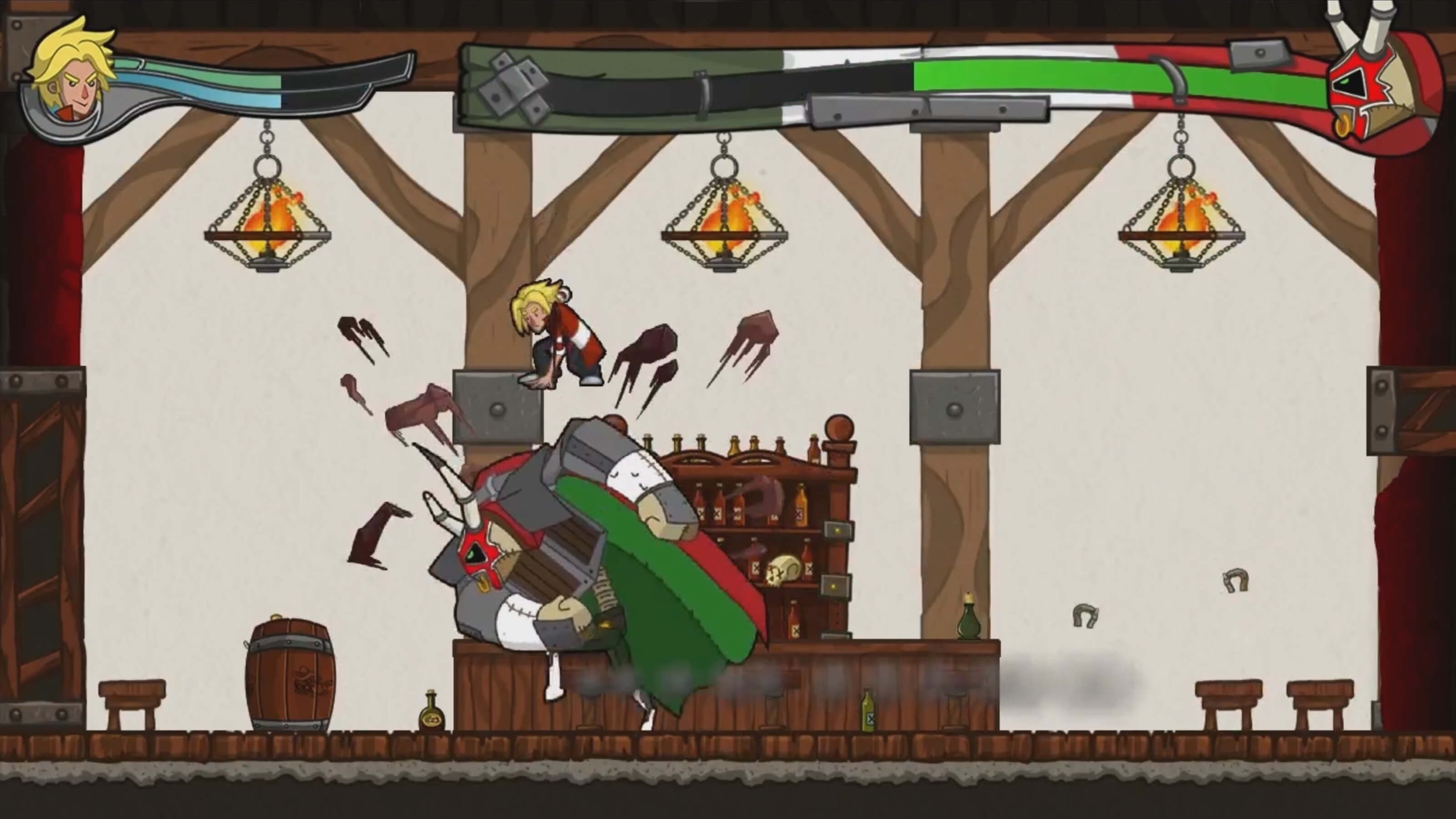 Jero leaps above a charging knight wearing a horned mask in a pub.