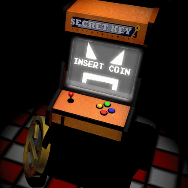 "An arcade console called ""Secret Key"" stands on the floor, a large coin resting beside it"
