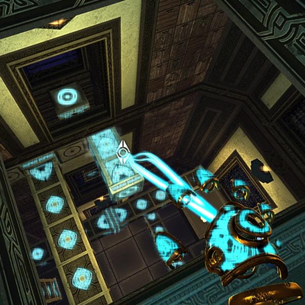 A mystical blue hand shoots a beam at a strange glowing column.